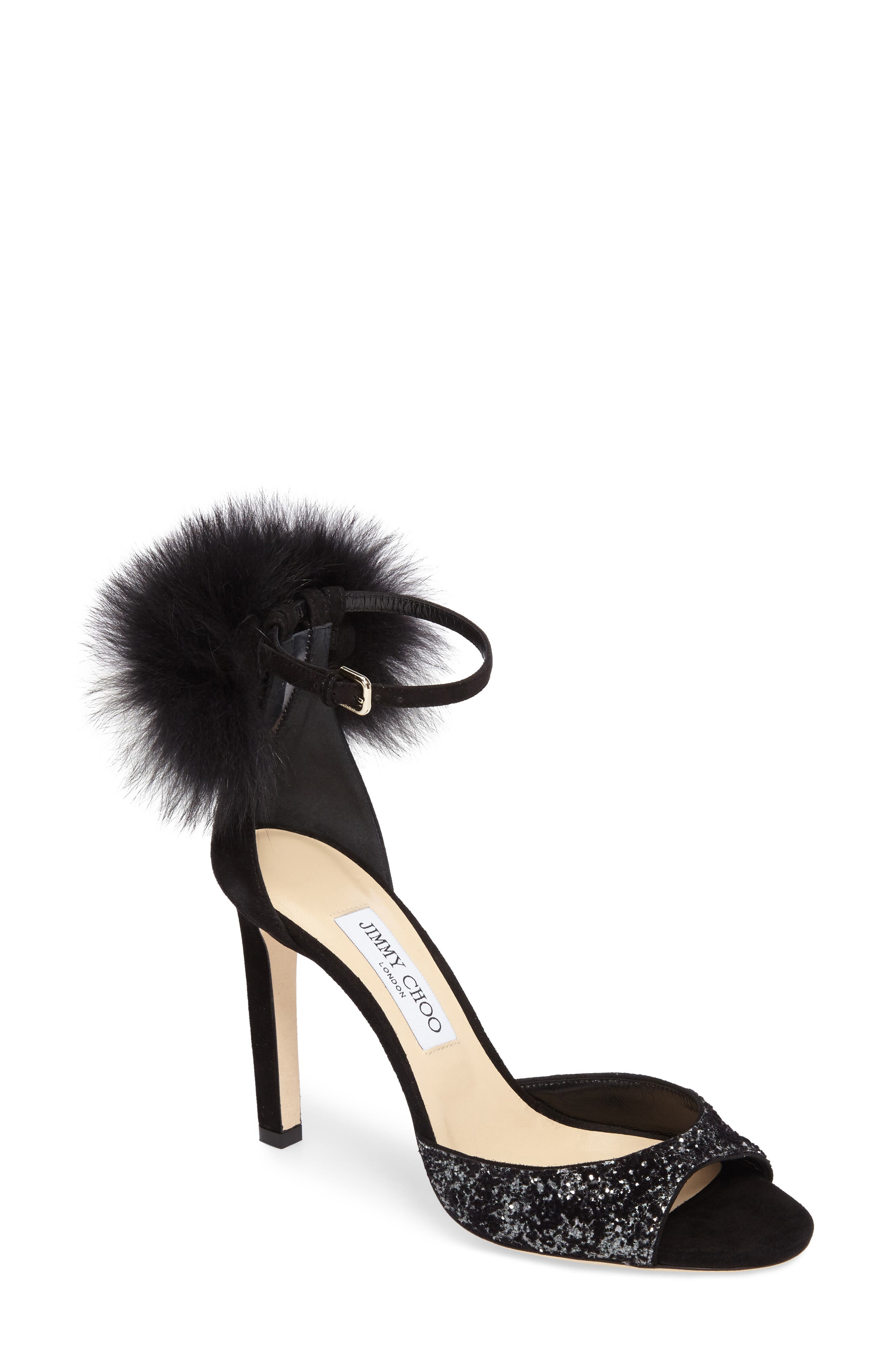 Suri Genuine Fox Fur Sandal,                         Main,                         color, Anthracite/ Black/ Black