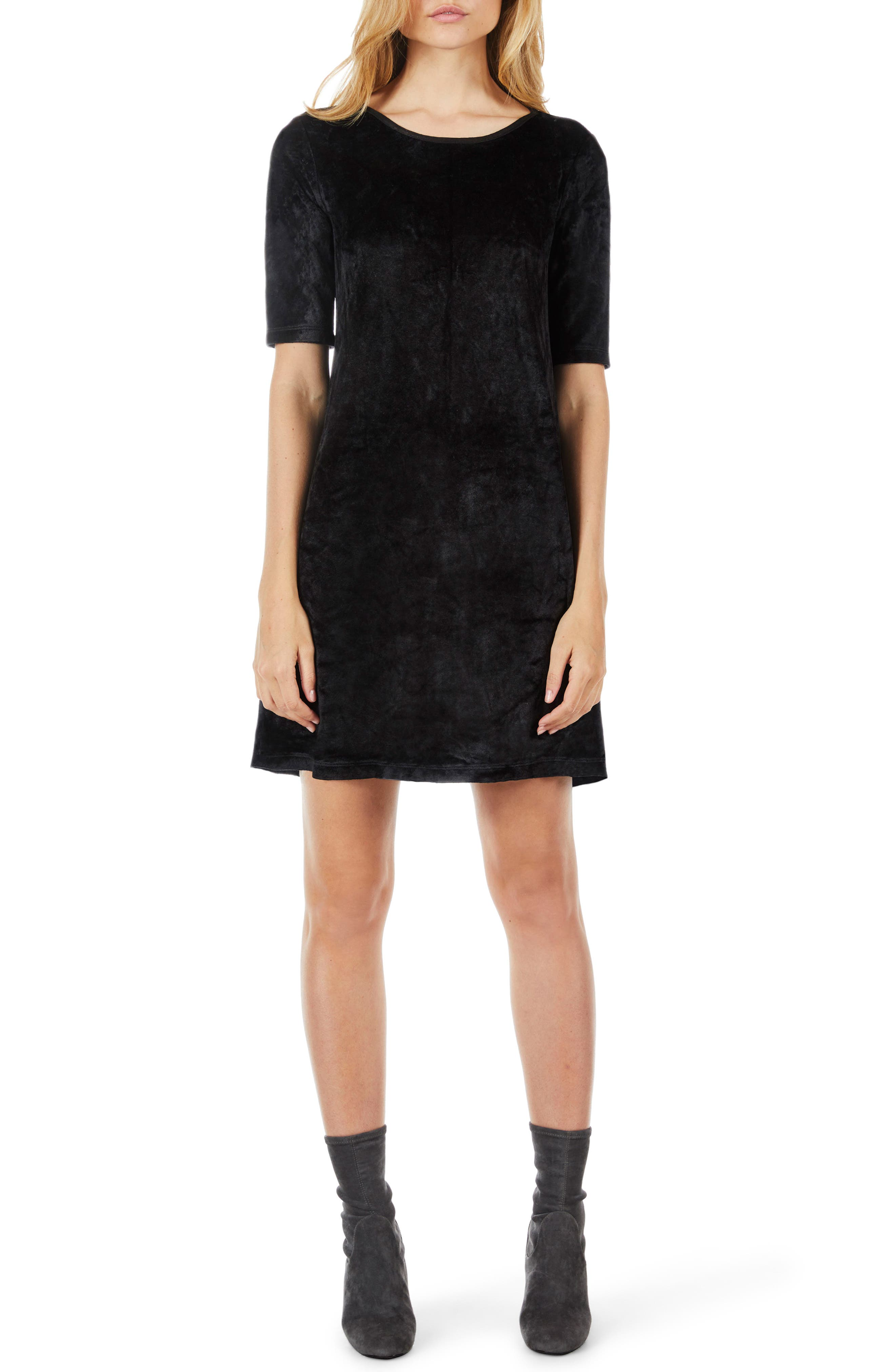 Elbow Sleeve Velvet Shift Dress,                             Main thumbnail 1, color,                             Black