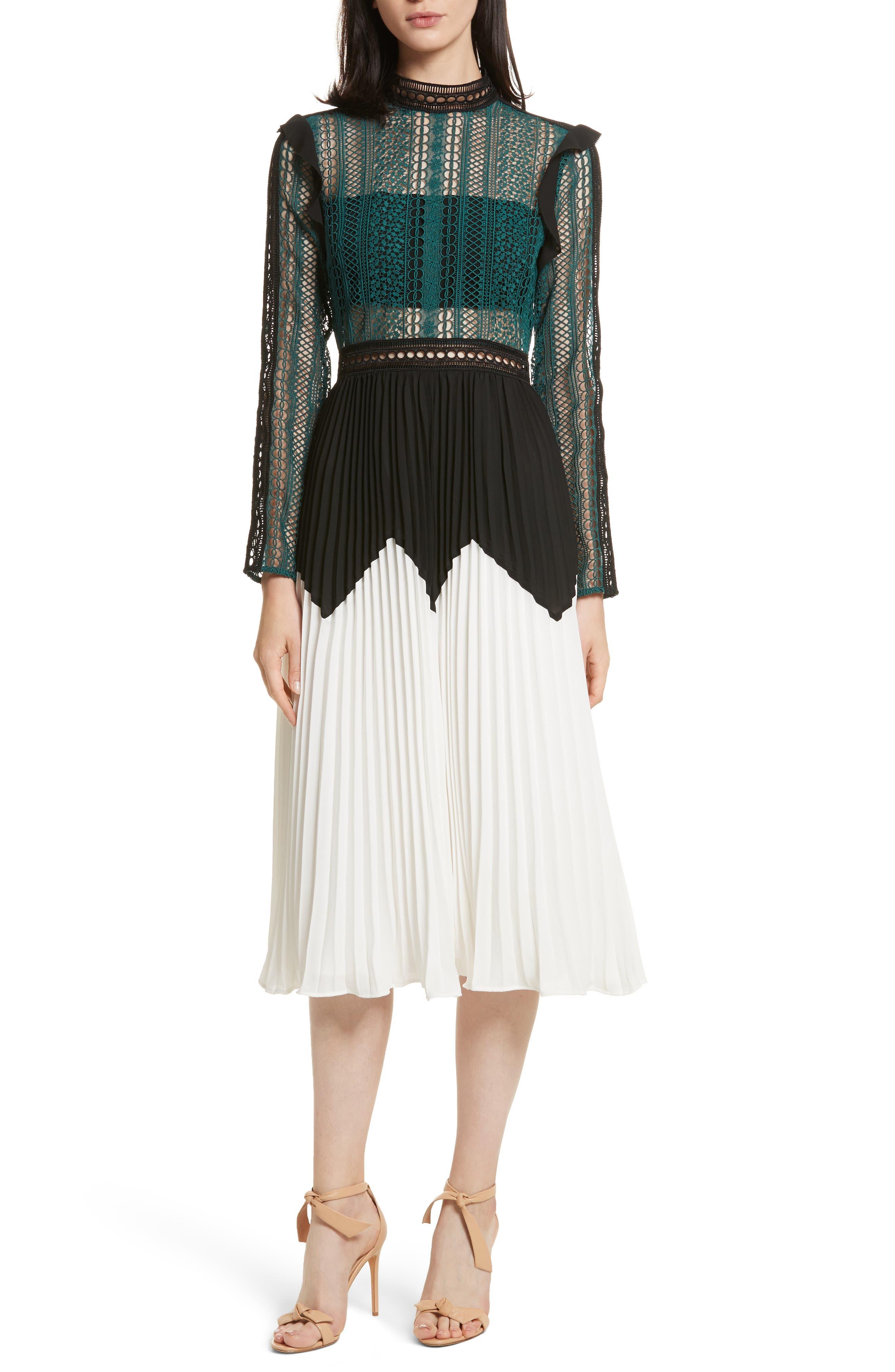 Self-Portrait Paneled Lace Midi Dress