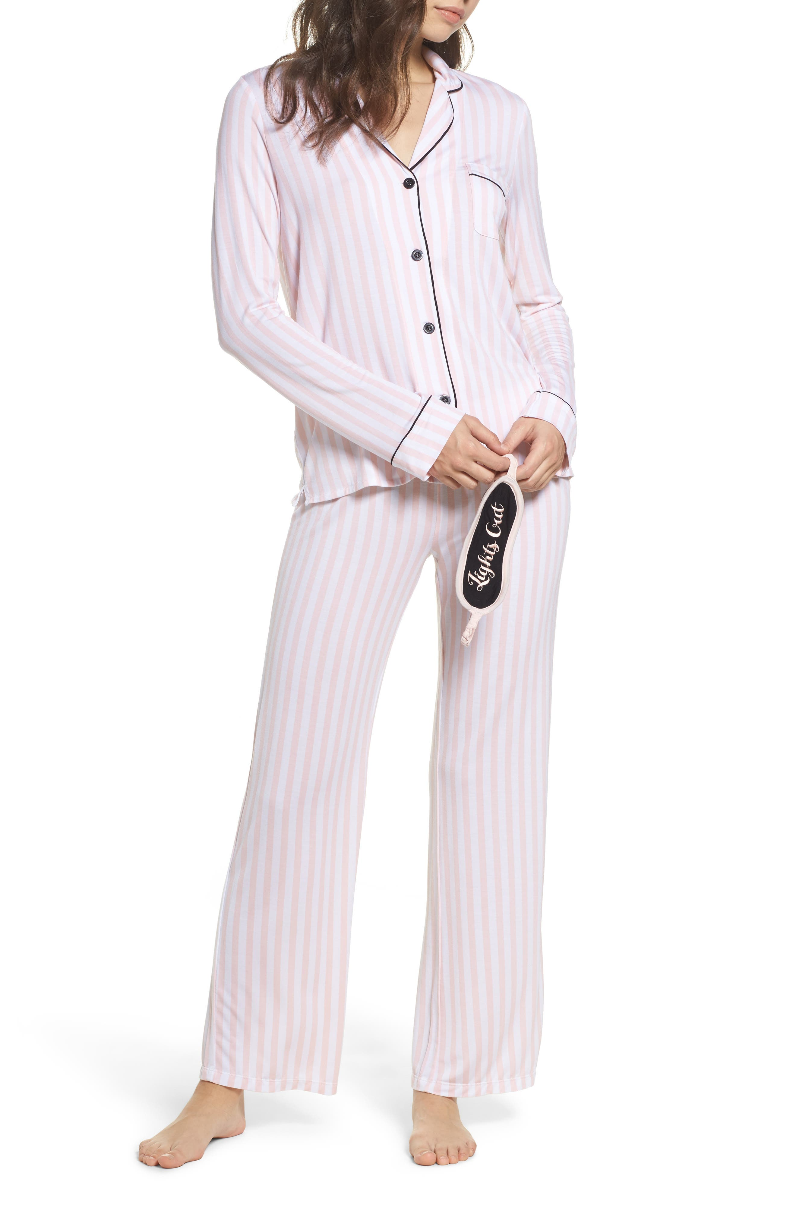 Alternate Image 1 Selected - PJ Salvage Stretch Modal Pajamas & Eye Mask