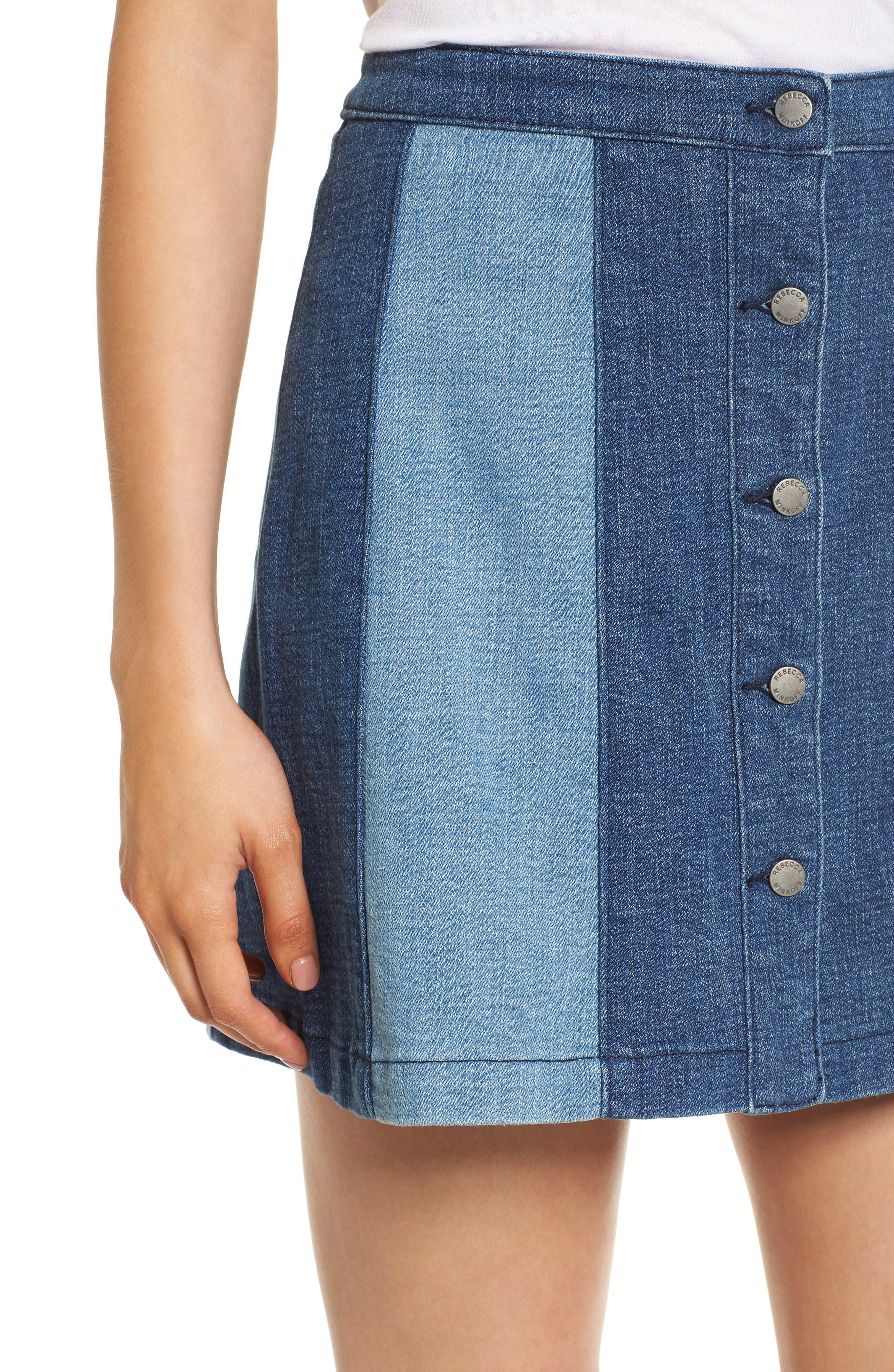 Beatty Denim Miniskirt,                             Alternate thumbnail 4, color,                             Indigo