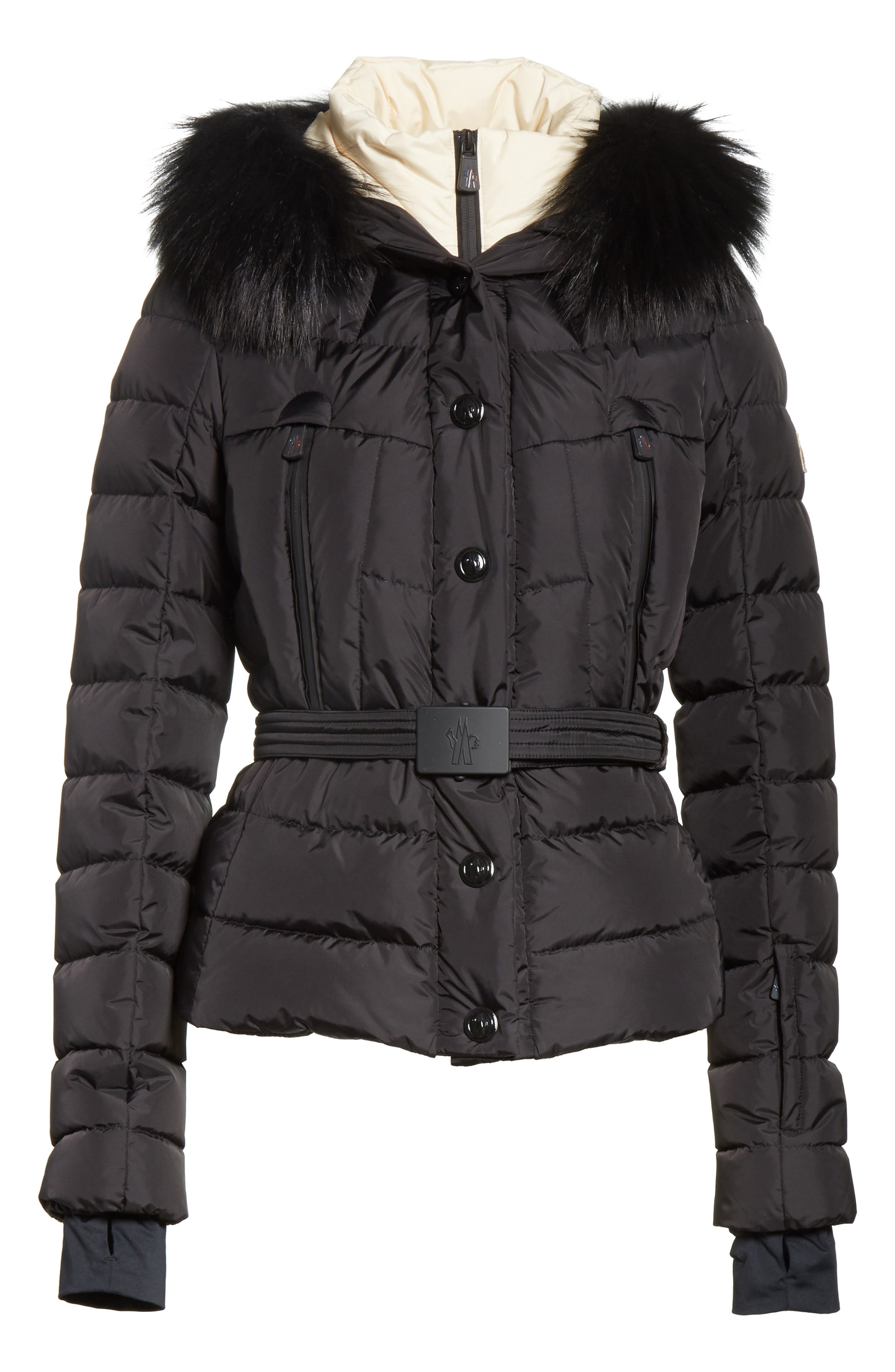 Beverley Quilted Down Jacket with Removable Genuine Fox Fur Trim,                             Alternate thumbnail 6, color,                             Black