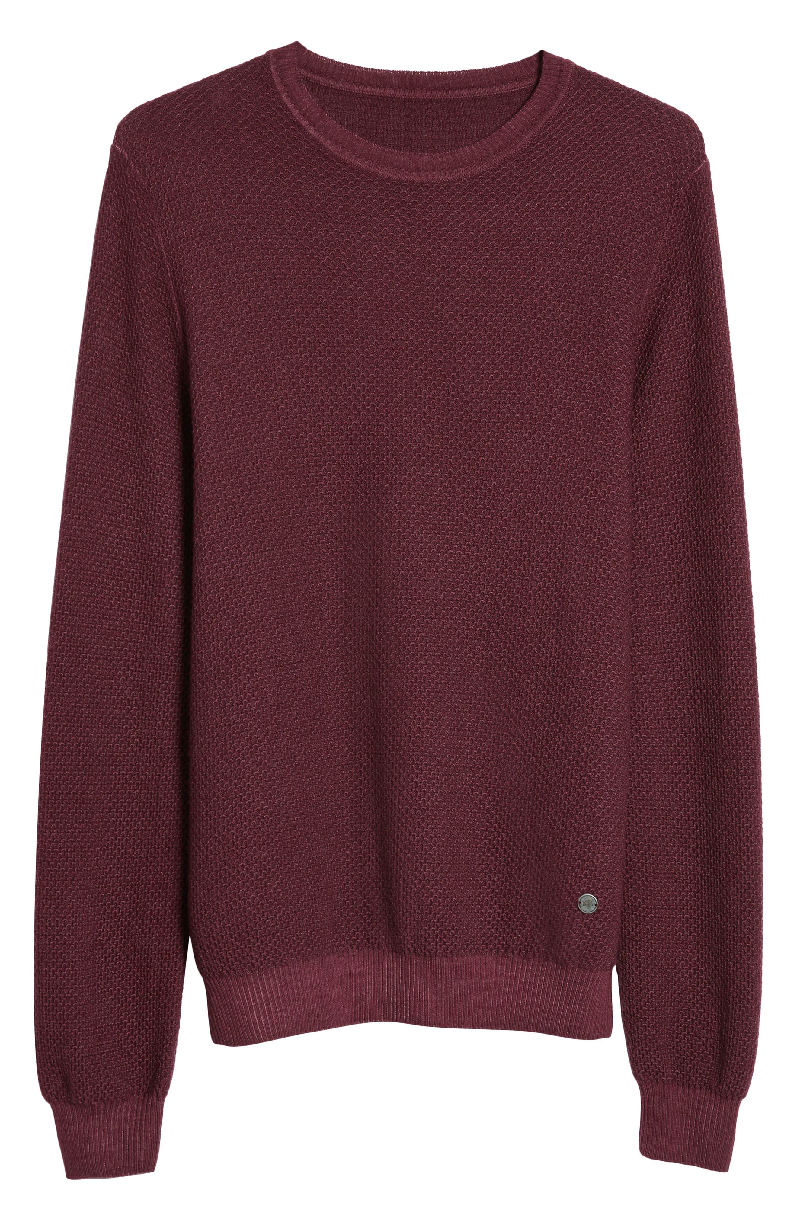 Honeycomb Merino Crewneck Sweater,                             Alternate thumbnail 6, color,                             Burgundy