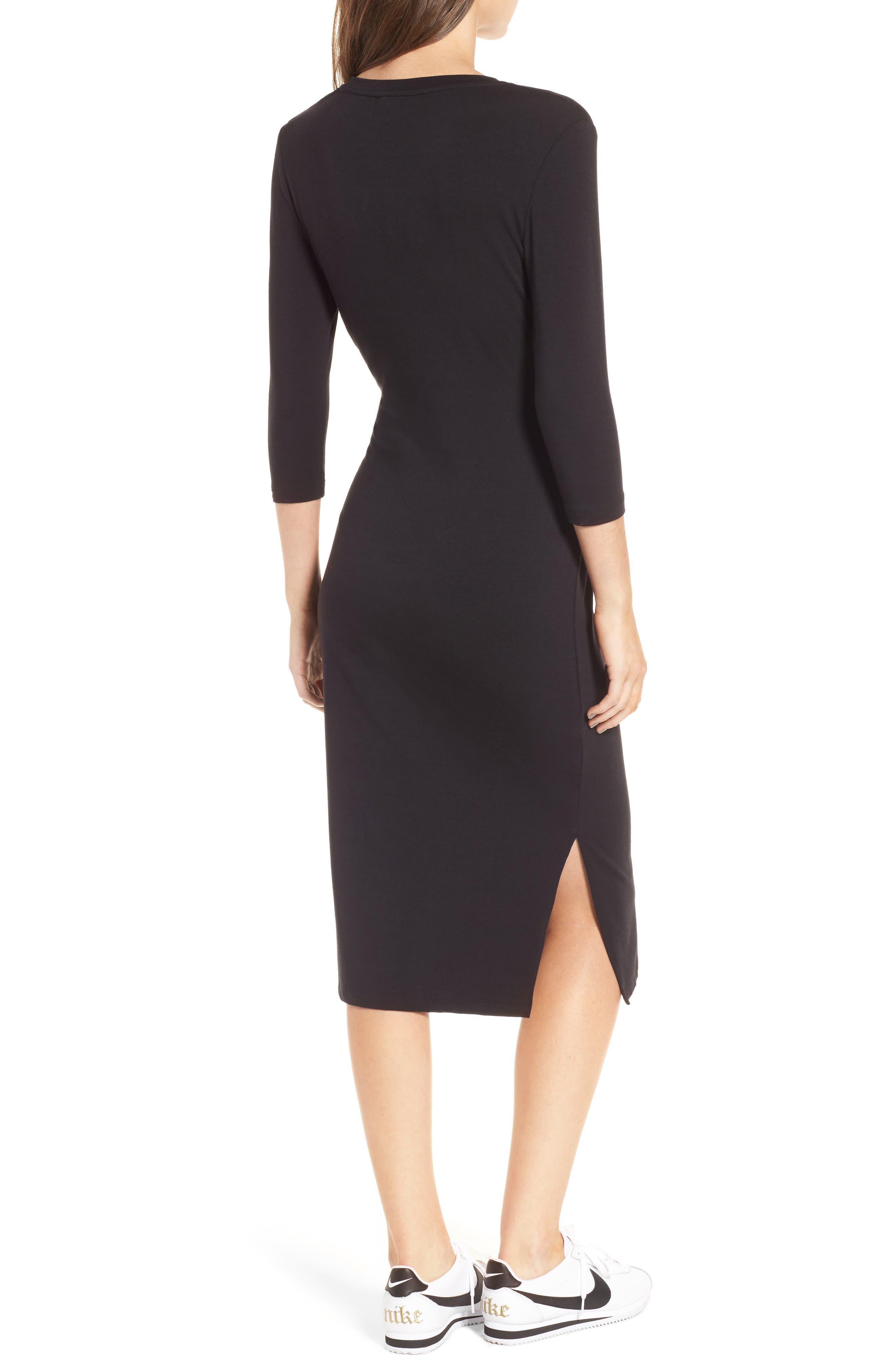 Colombe Knit Sheath Dress,                             Alternate thumbnail 2, color,                             Black