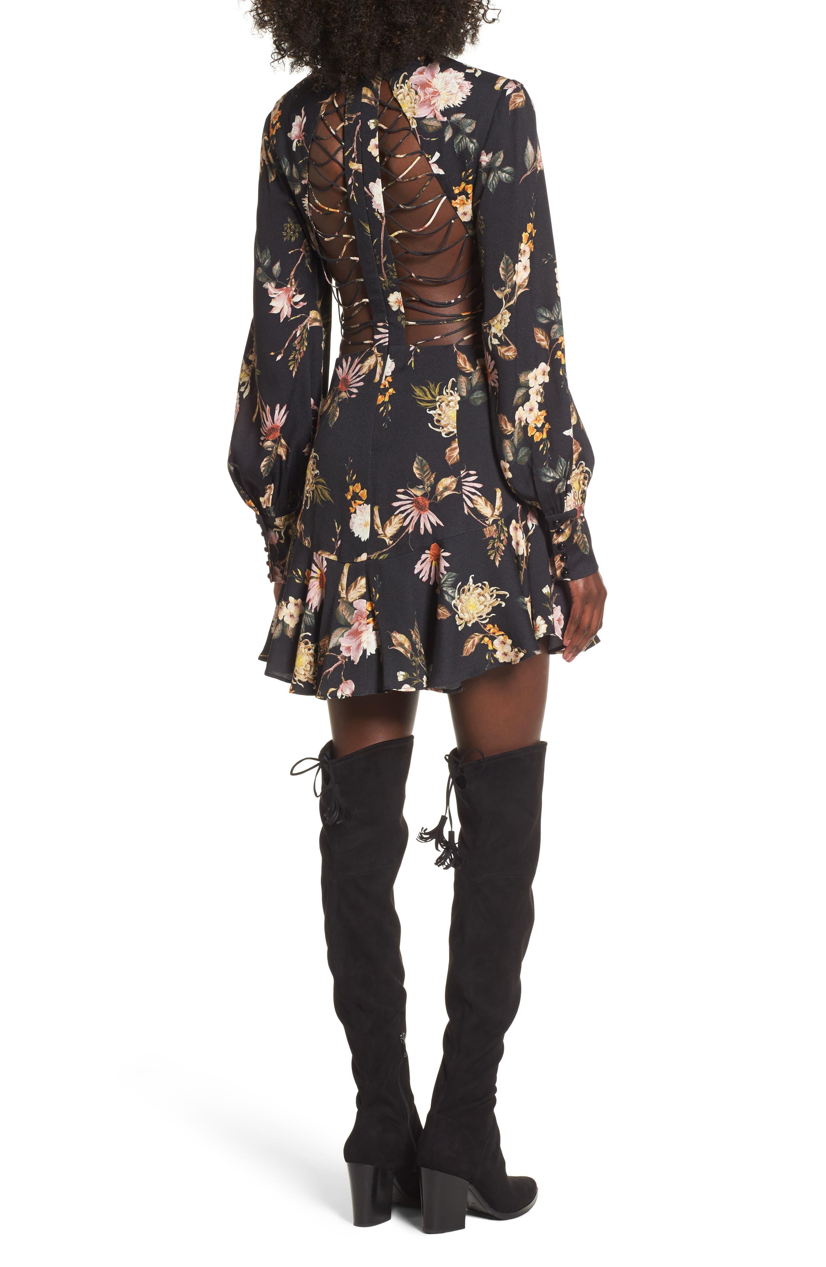 Savanna Lattice Back Fit & Flare Dress,                             Alternate thumbnail 2, color,                             Noir Floral