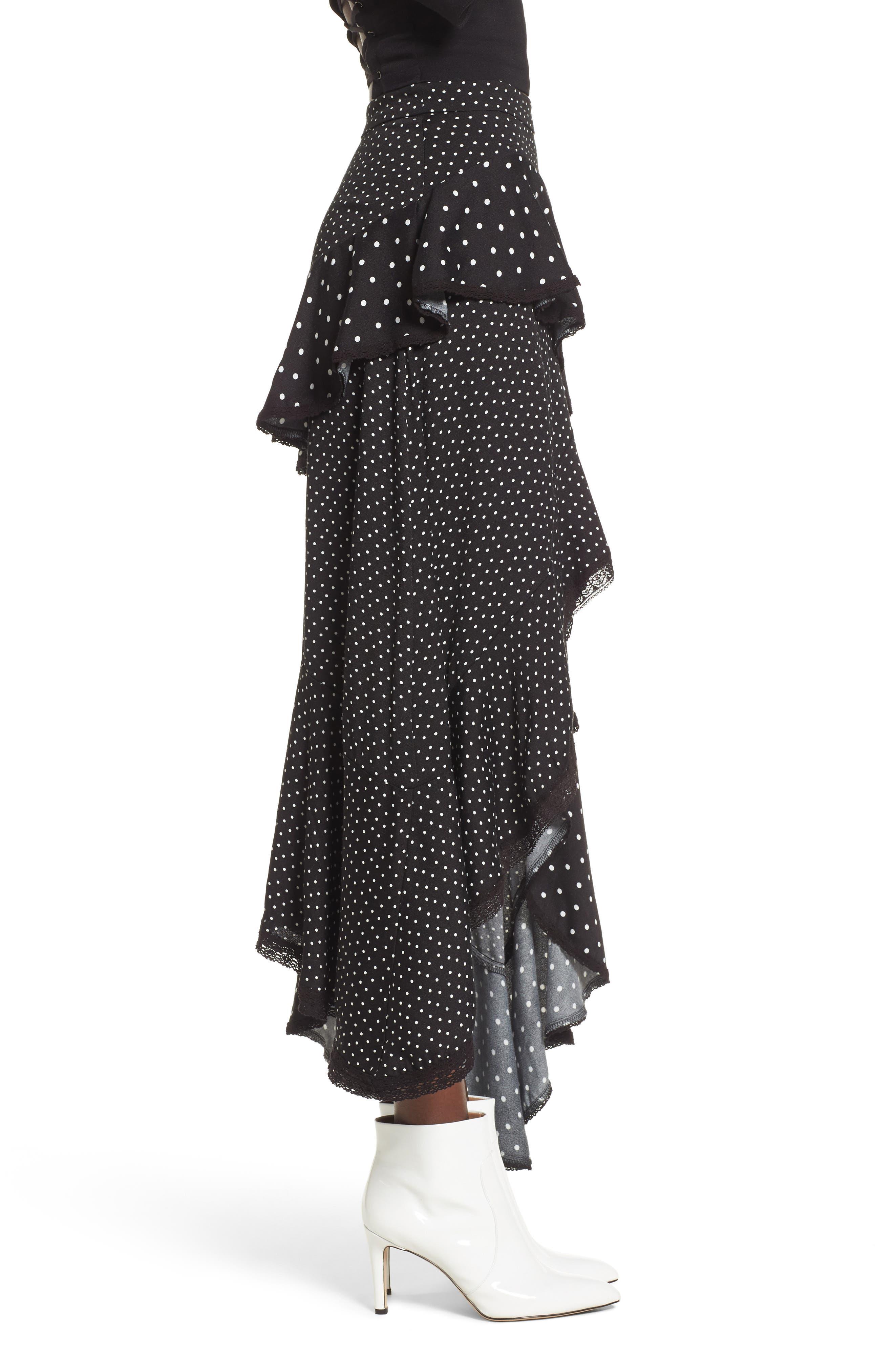 Grace Asymmetrical Ruffle Skirt,                             Alternate thumbnail 3, color,                             Noir Polka Dot
