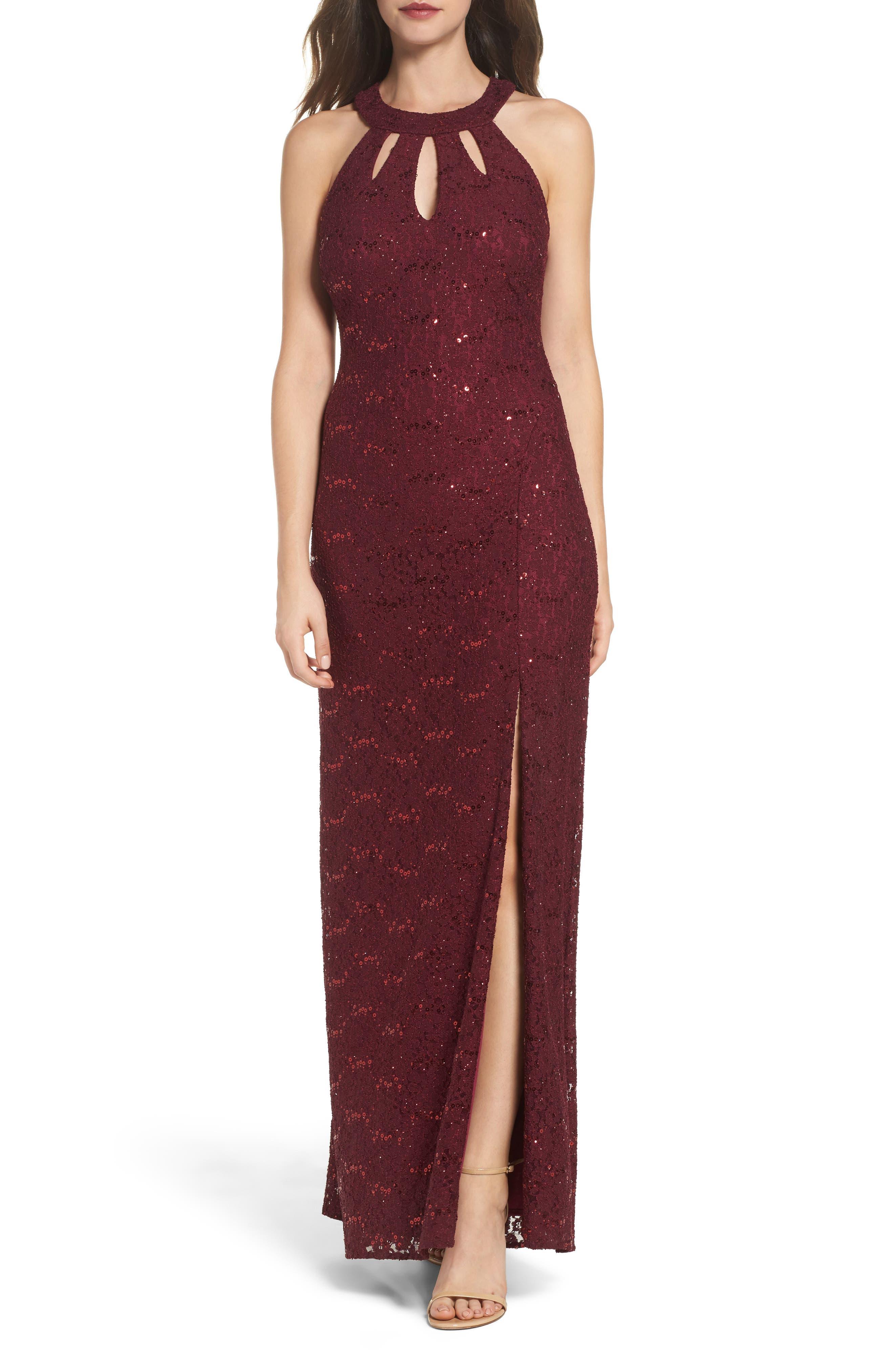 Keyhole Lace Column Gown,                         Main,                         color, Merlot