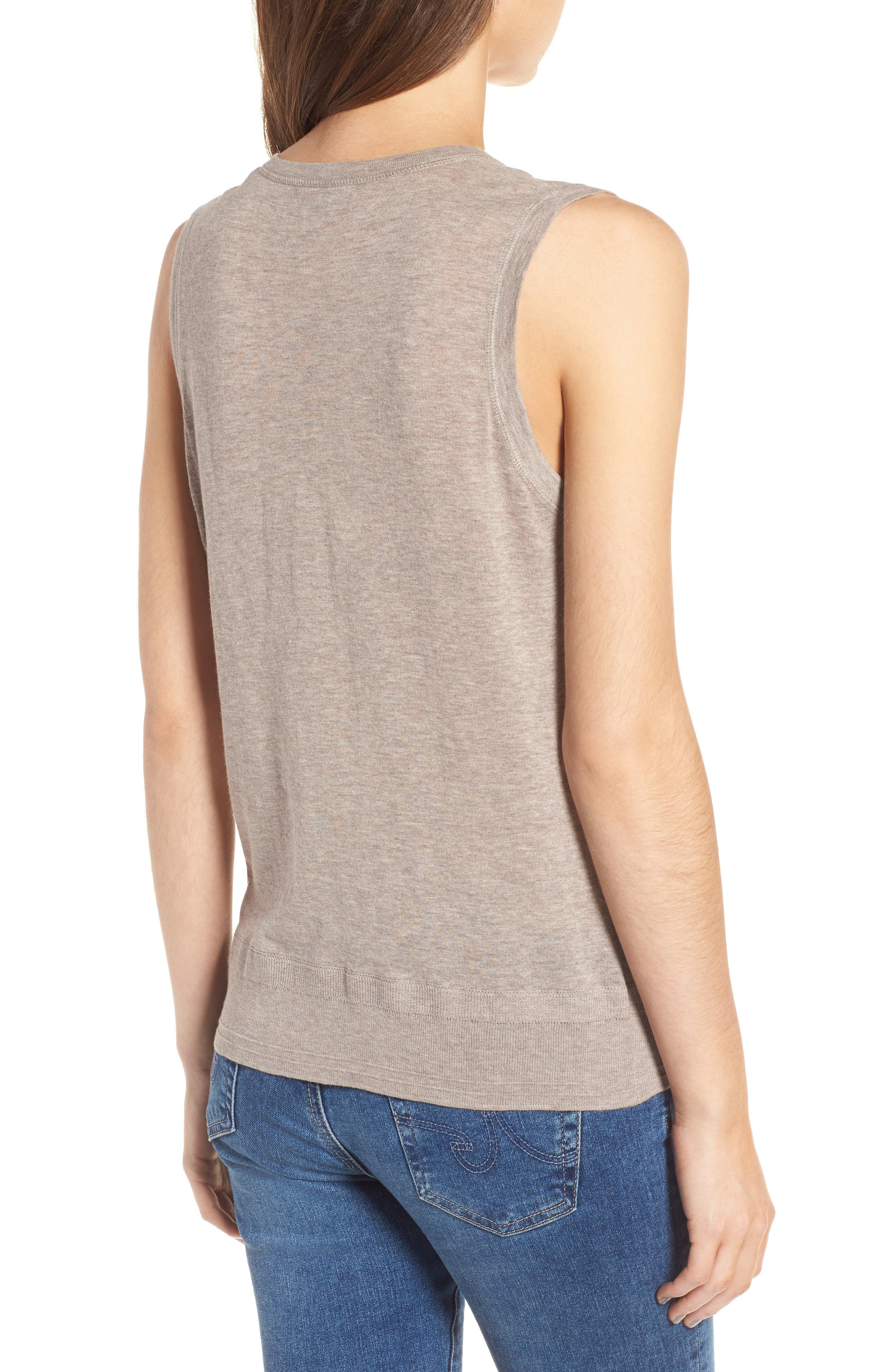 Henley Tank Sweater,                             Alternate thumbnail 2, color,                             Heather Taupe