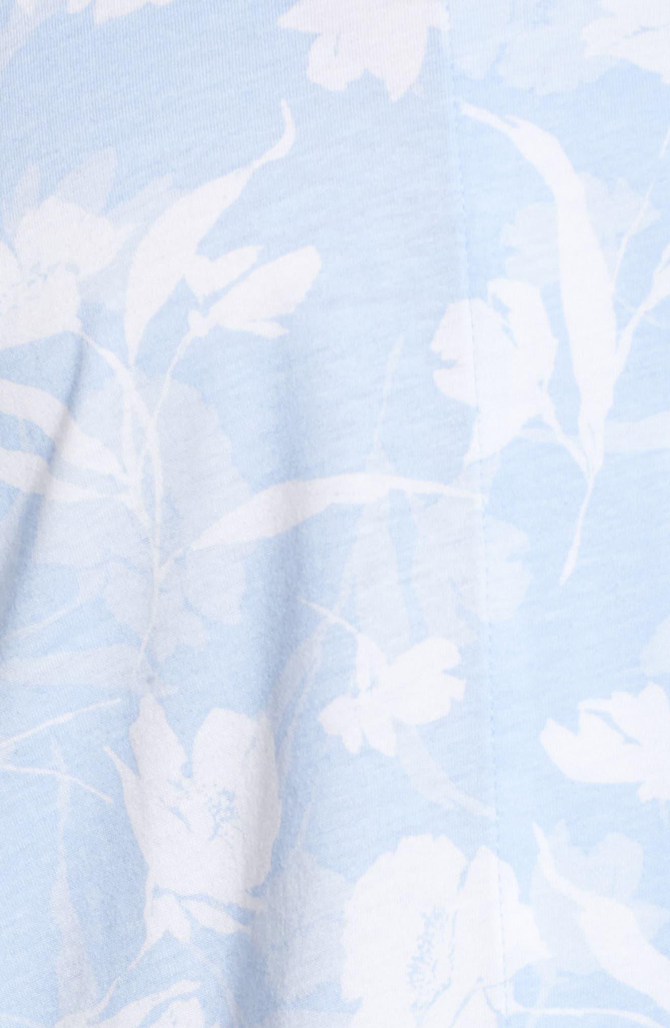Floral Print Jersey Pajamas,                             Alternate thumbnail 5, color,                             Blue Monotone Floral