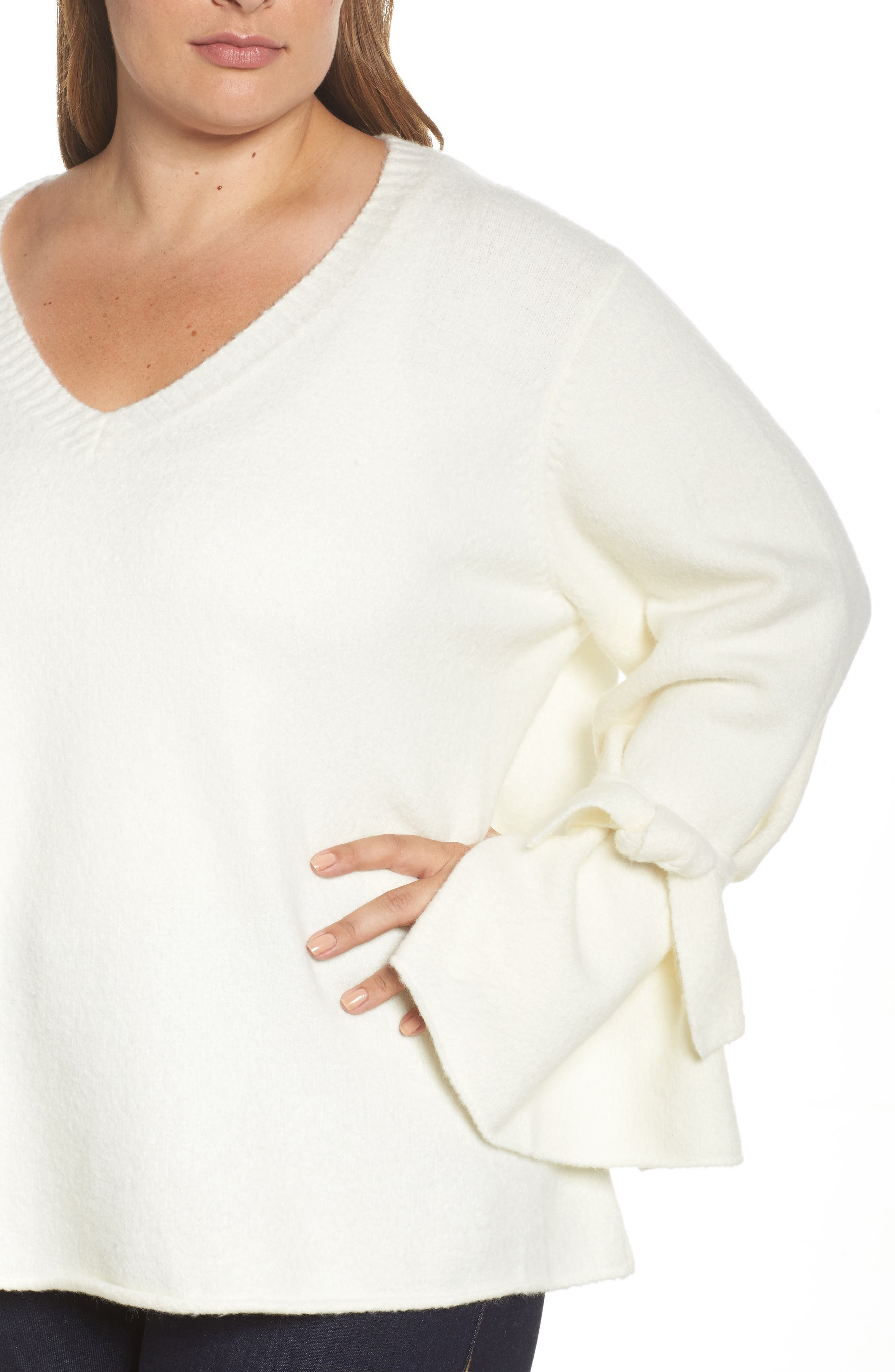 Tie Sleeve Sweater,                             Alternate thumbnail 4, color,                             White