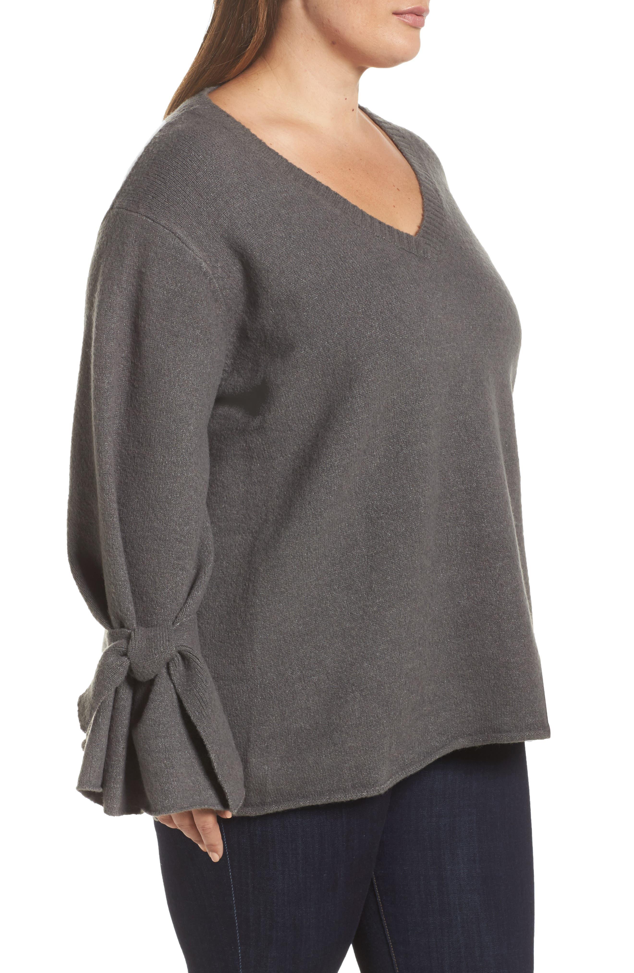 Alternate Image 3  - Glamorous Tie Sleeve Sweater (Plus Size)