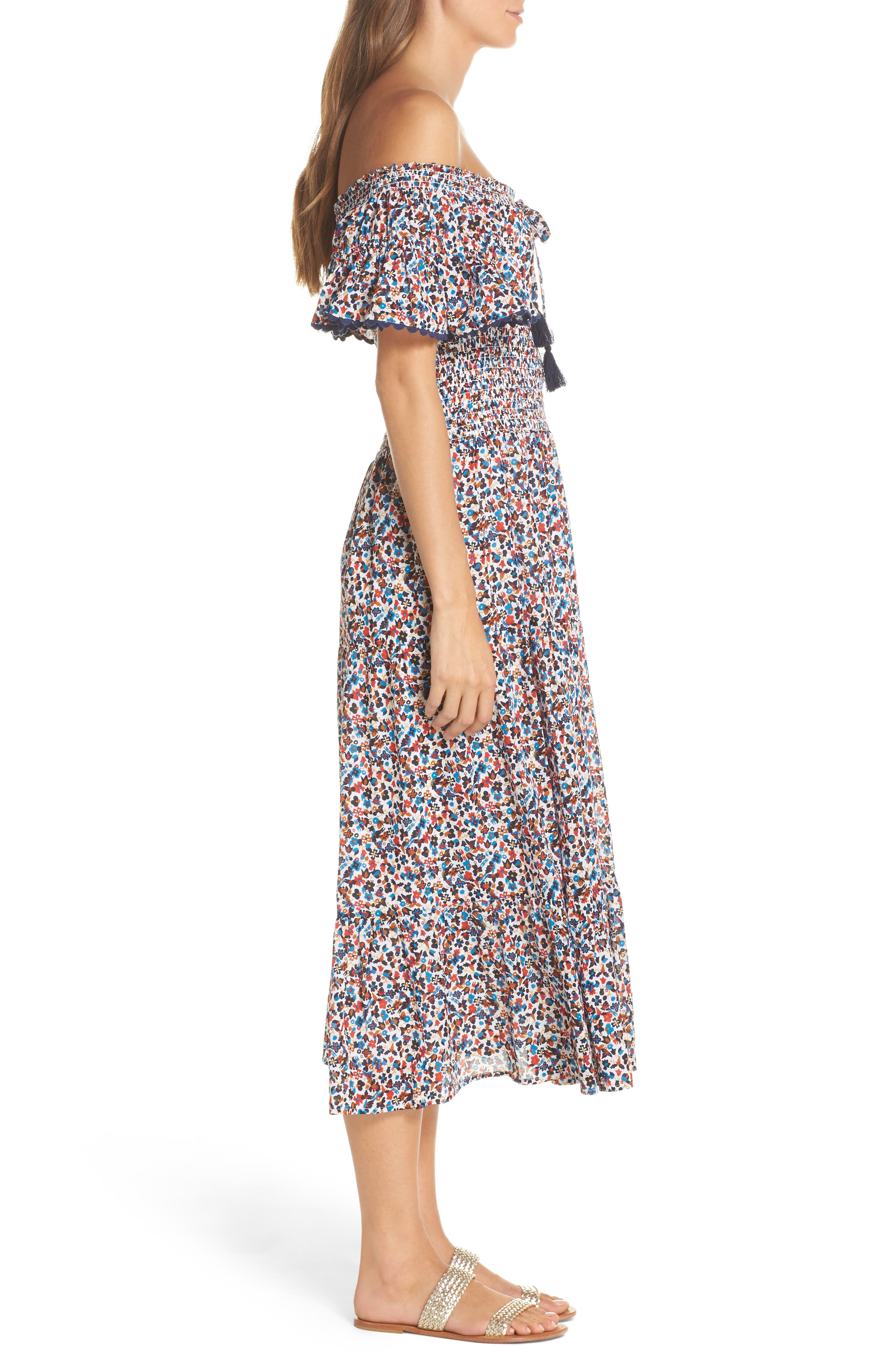 Wildflower Cover-Up Midi Dress,                             Alternate thumbnail 3, color,                             Mini Wildflower