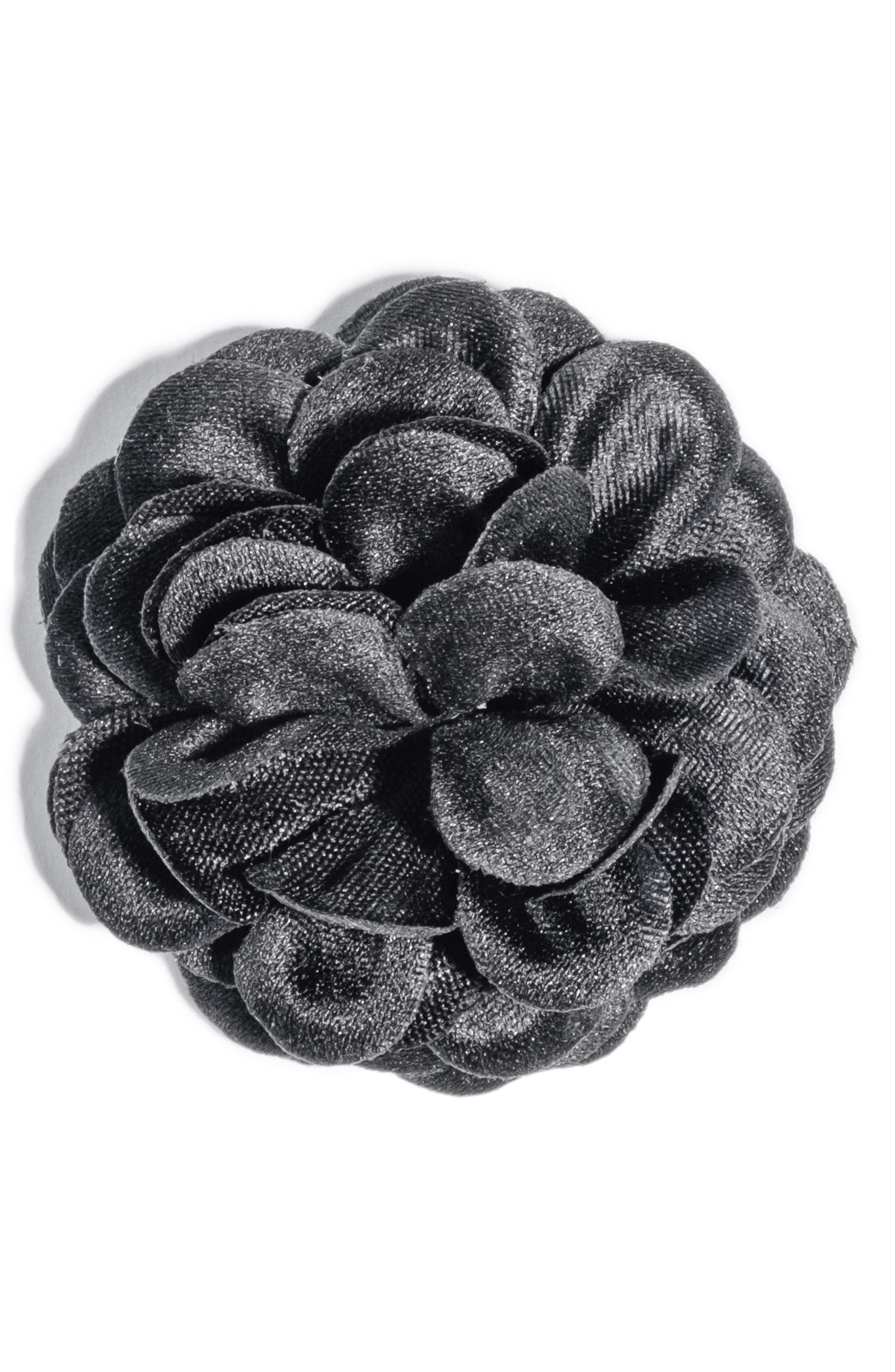 Large Lapel Flower,                         Main,                         color, Black