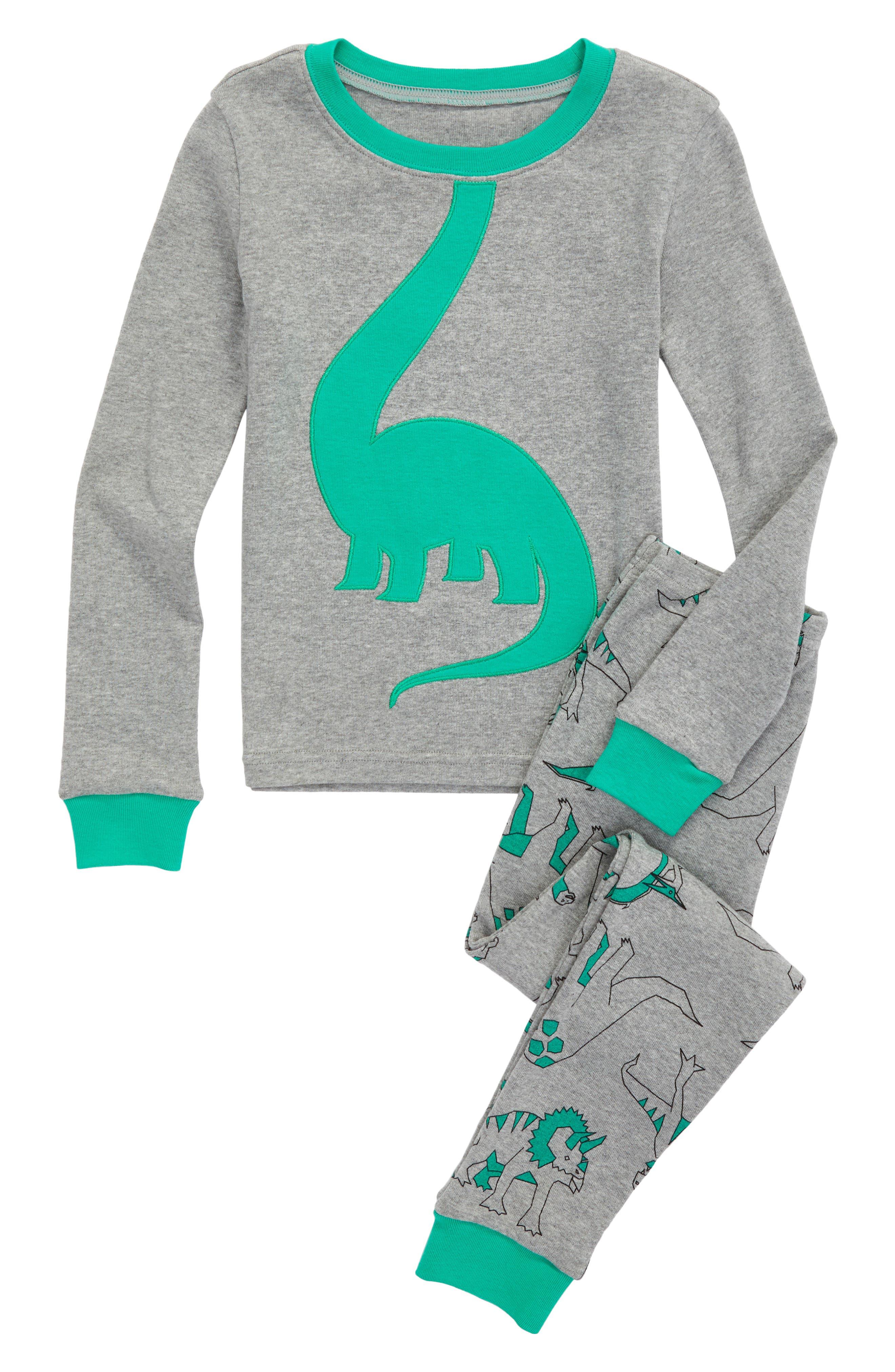 Appliqué Two-Piece Pajamas,                             Main thumbnail 1, color,                             Grey Medium Heather Dino