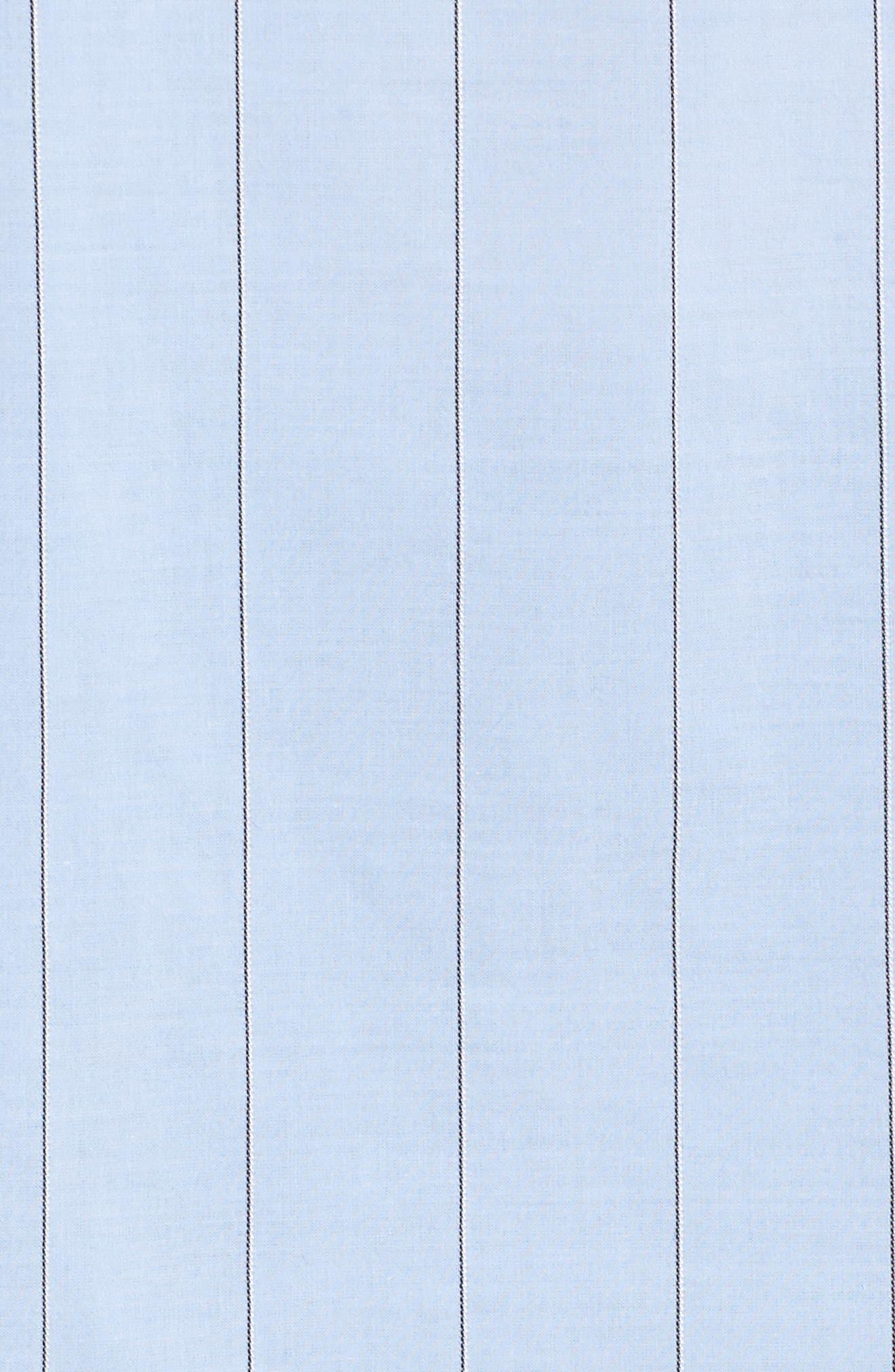 Keyhole Back Stripe Tunic Shirt,                             Alternate thumbnail 5, color,                             Blue Oxford Micro Stripe