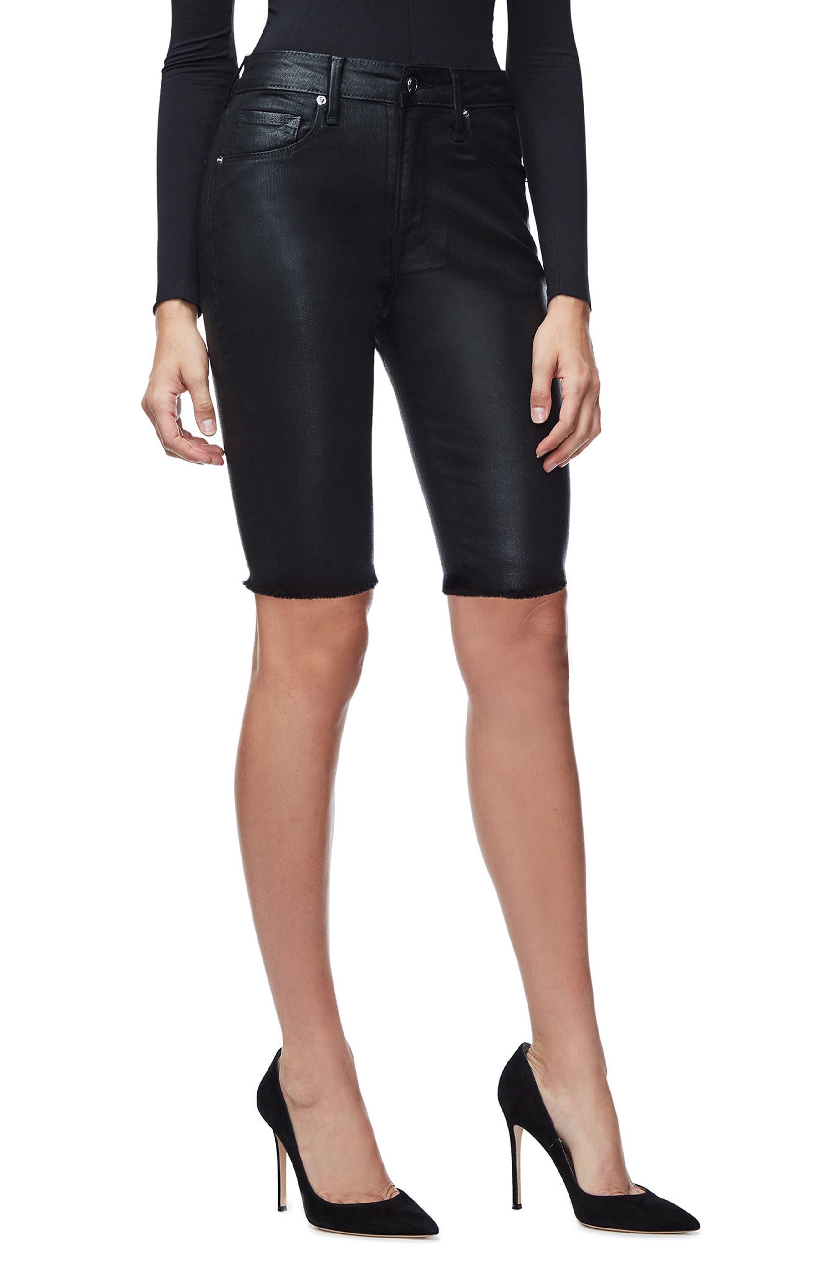 The Waxed Bermuda High Waist Shorts,                             Alternate thumbnail 3, color,                             Black