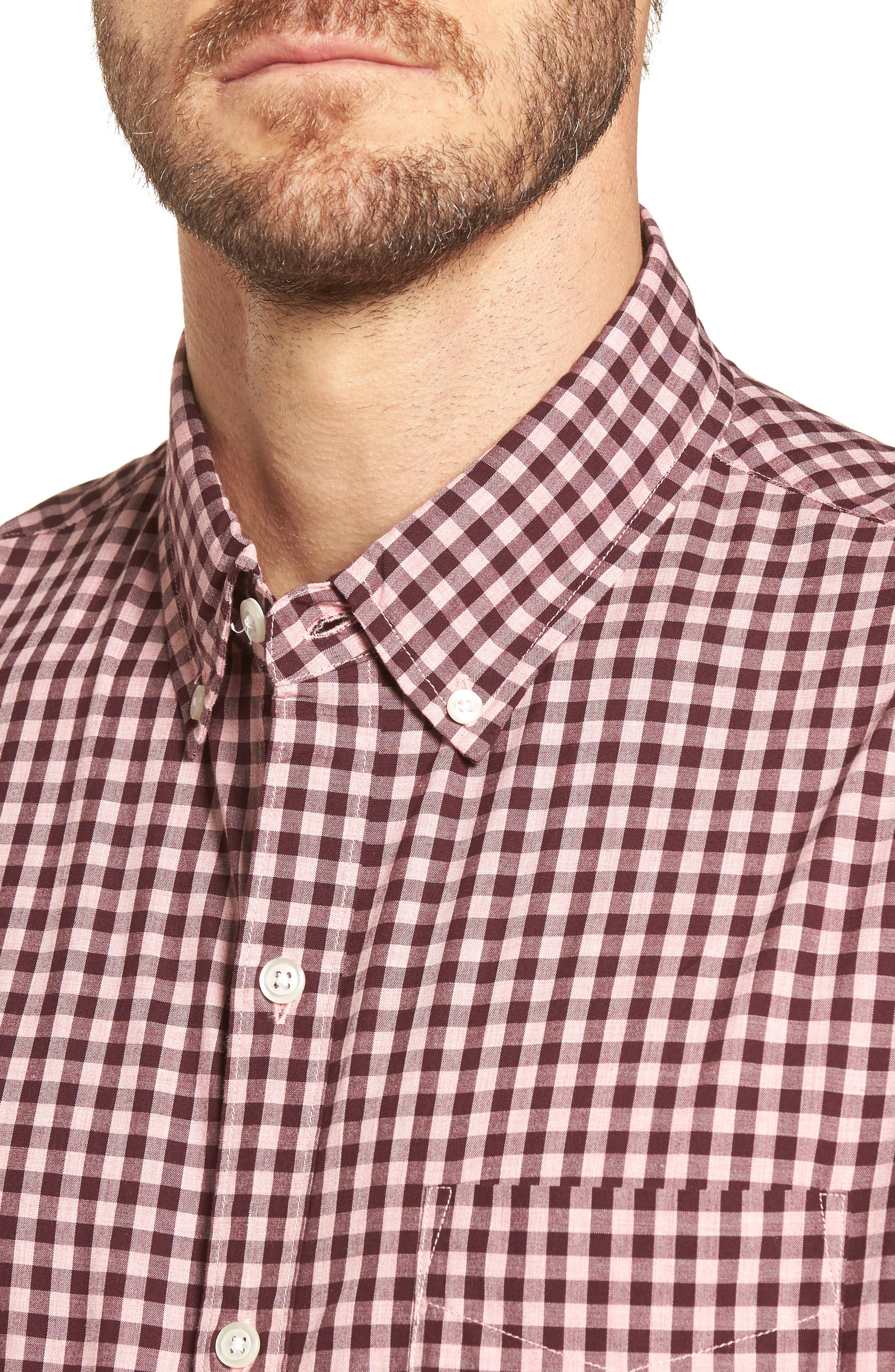 Slim Fit Washed Ombré Check Sport Shirt,                             Alternate thumbnail 4, color,                             Heather Pink Gingham