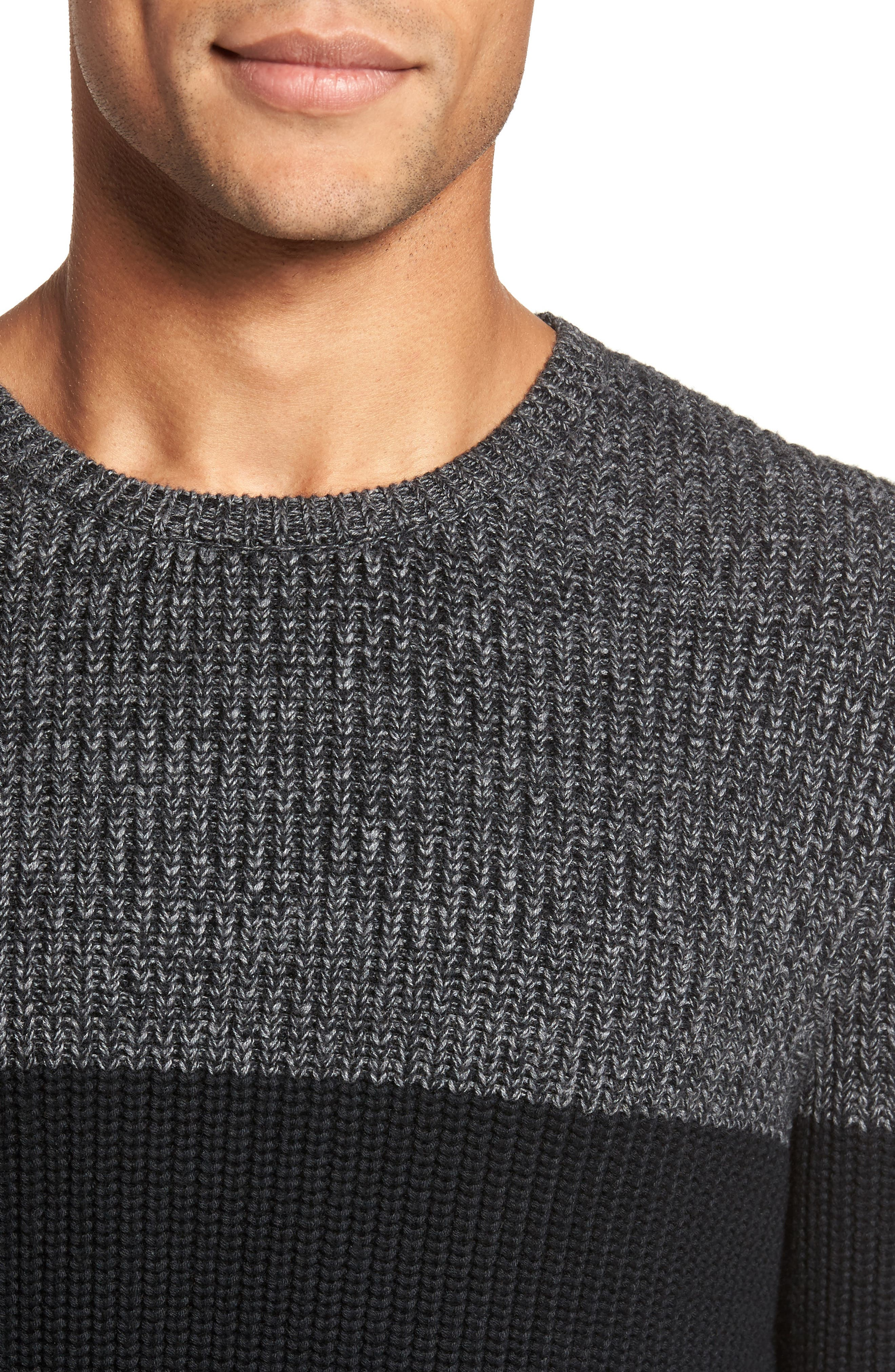 Colorblock Chenille Sweater,                             Alternate thumbnail 4, color,                             Heather Navy