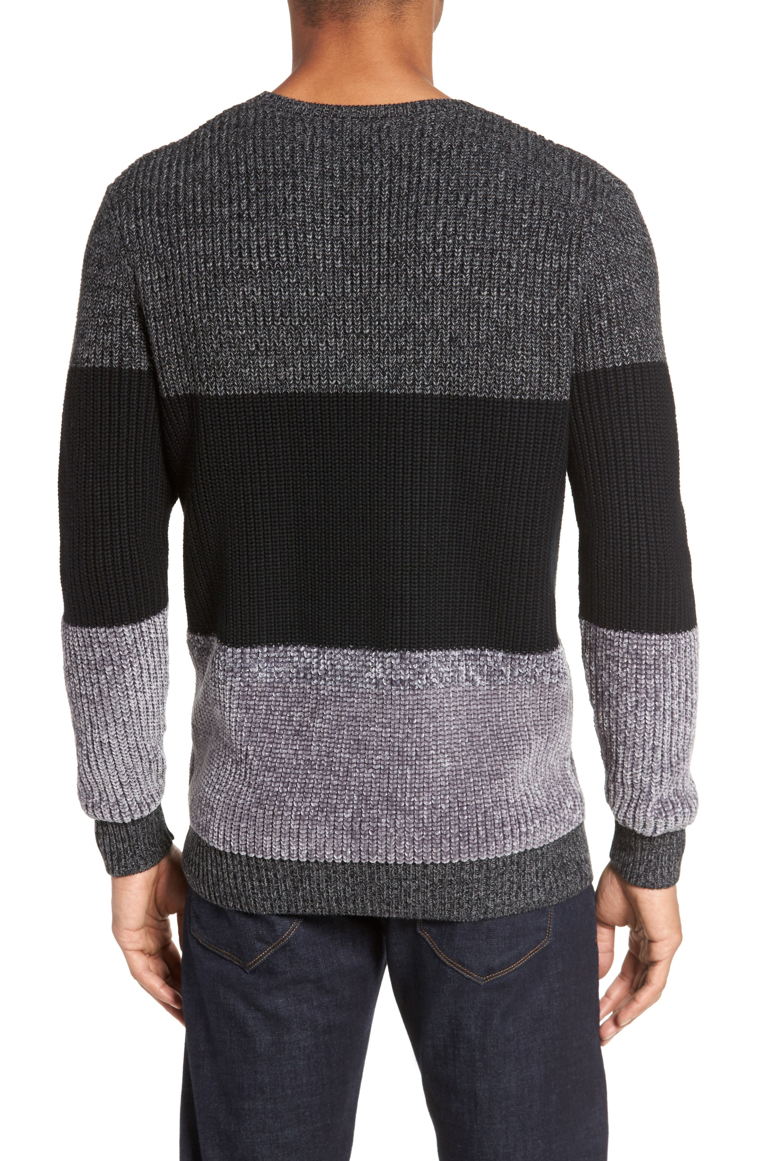 Colorblock Chenille Sweater,                             Alternate thumbnail 2, color,                             Heather Navy