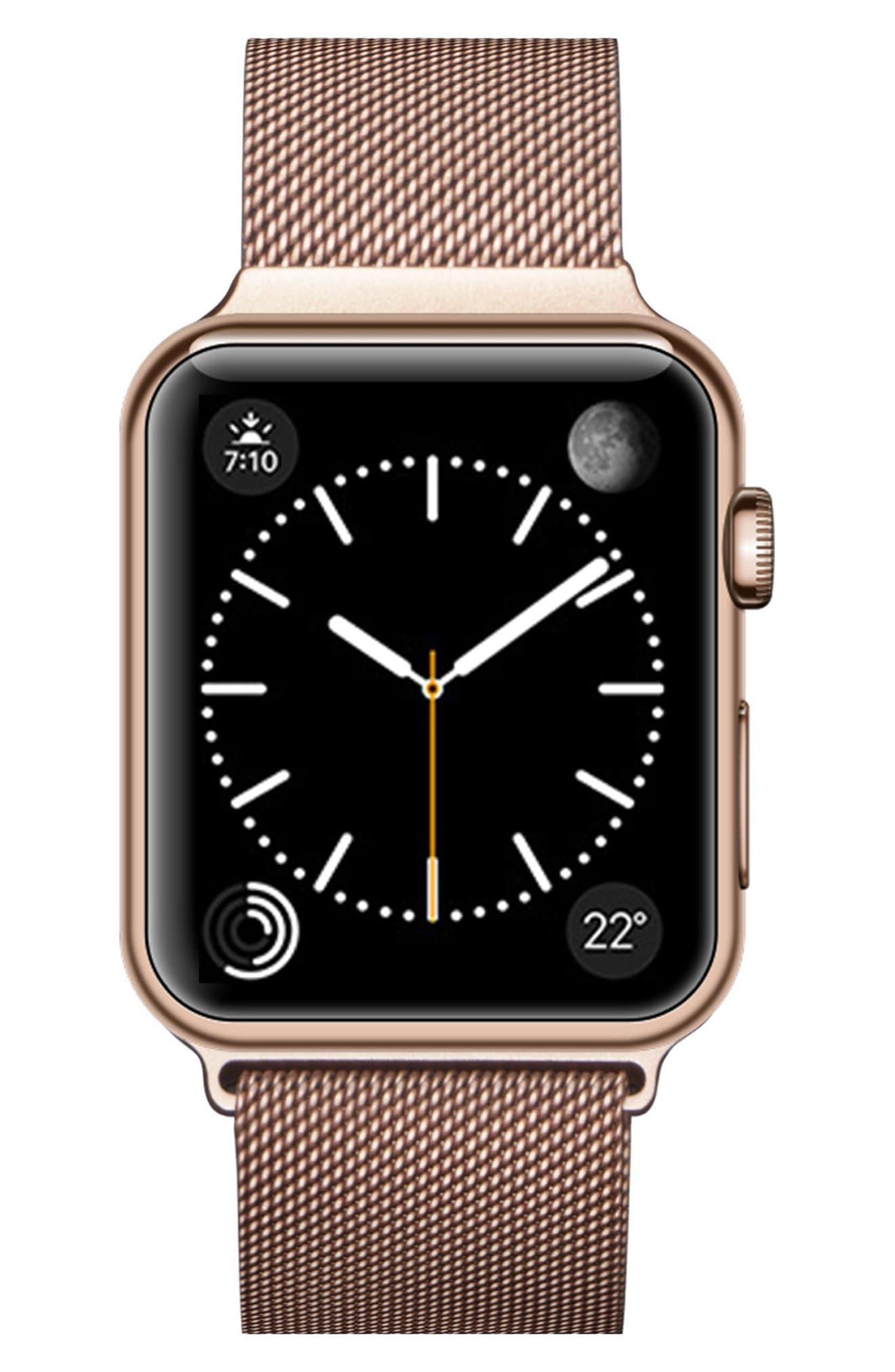 Mesh Apple Watch Strap, 38mm,                             Alternate thumbnail 4, color,                             Rose Gold