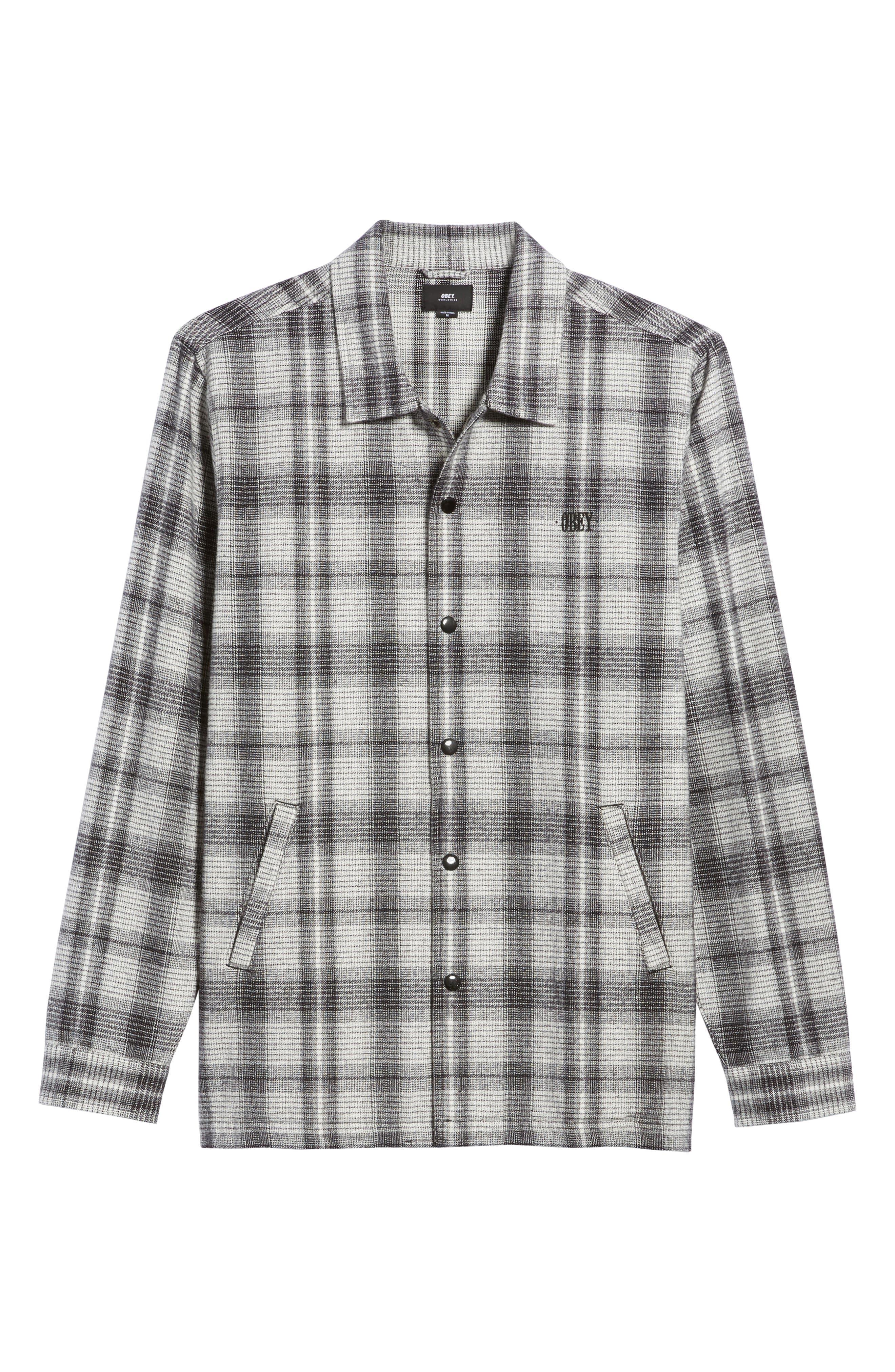 Whittier Plaid Flannel Shirt Jacket,                             Alternate thumbnail 6, color,                             Neutral Grey Multi