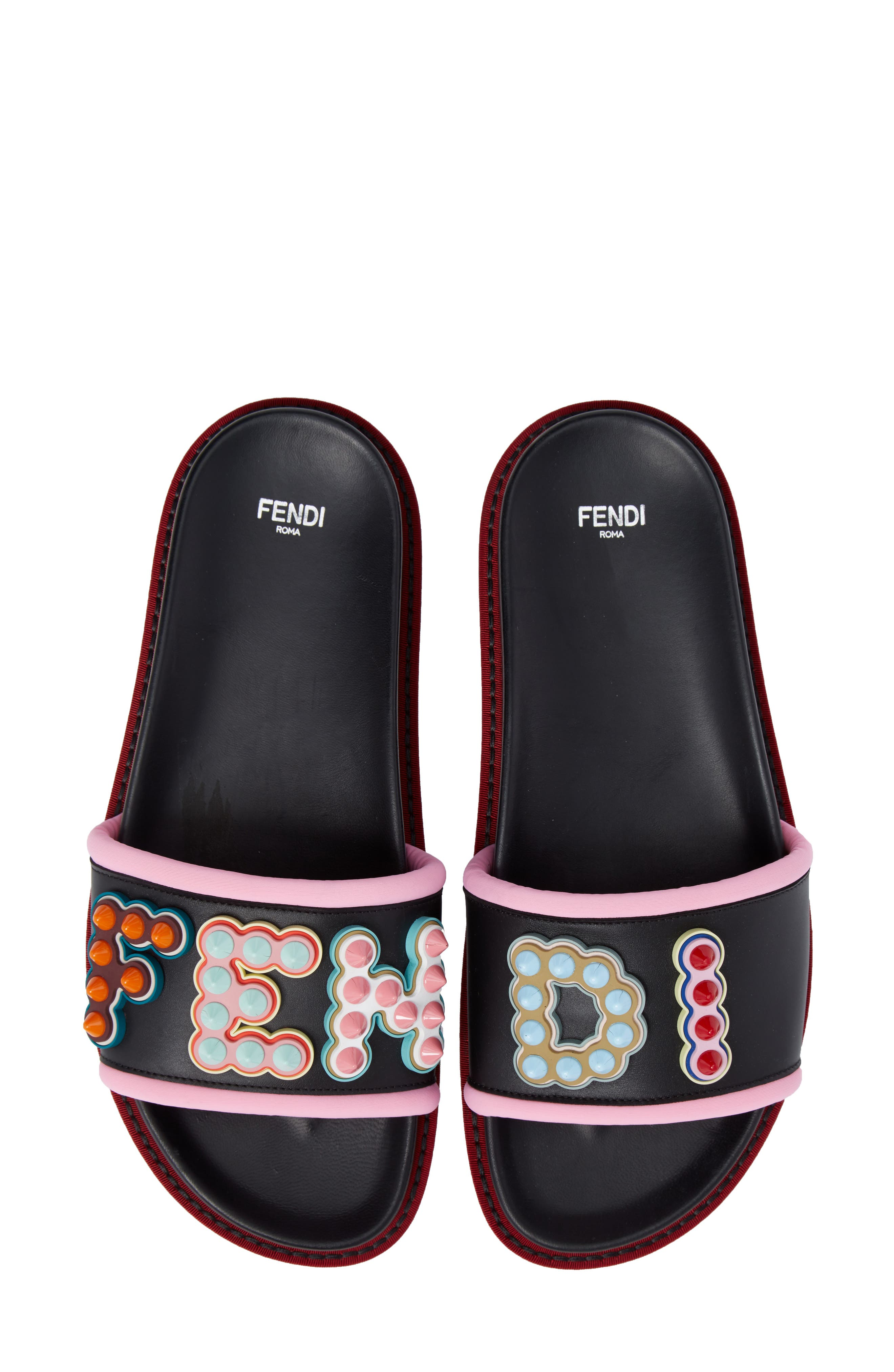 Studded Logo Slide Sandal,                             Main thumbnail 1, color,                             Black