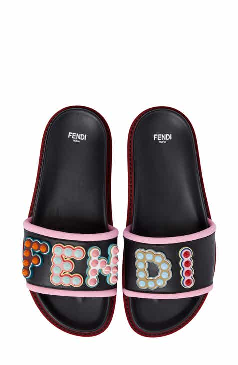e5e62802054 Fendi Studded Logo Slide Sandal (Women)