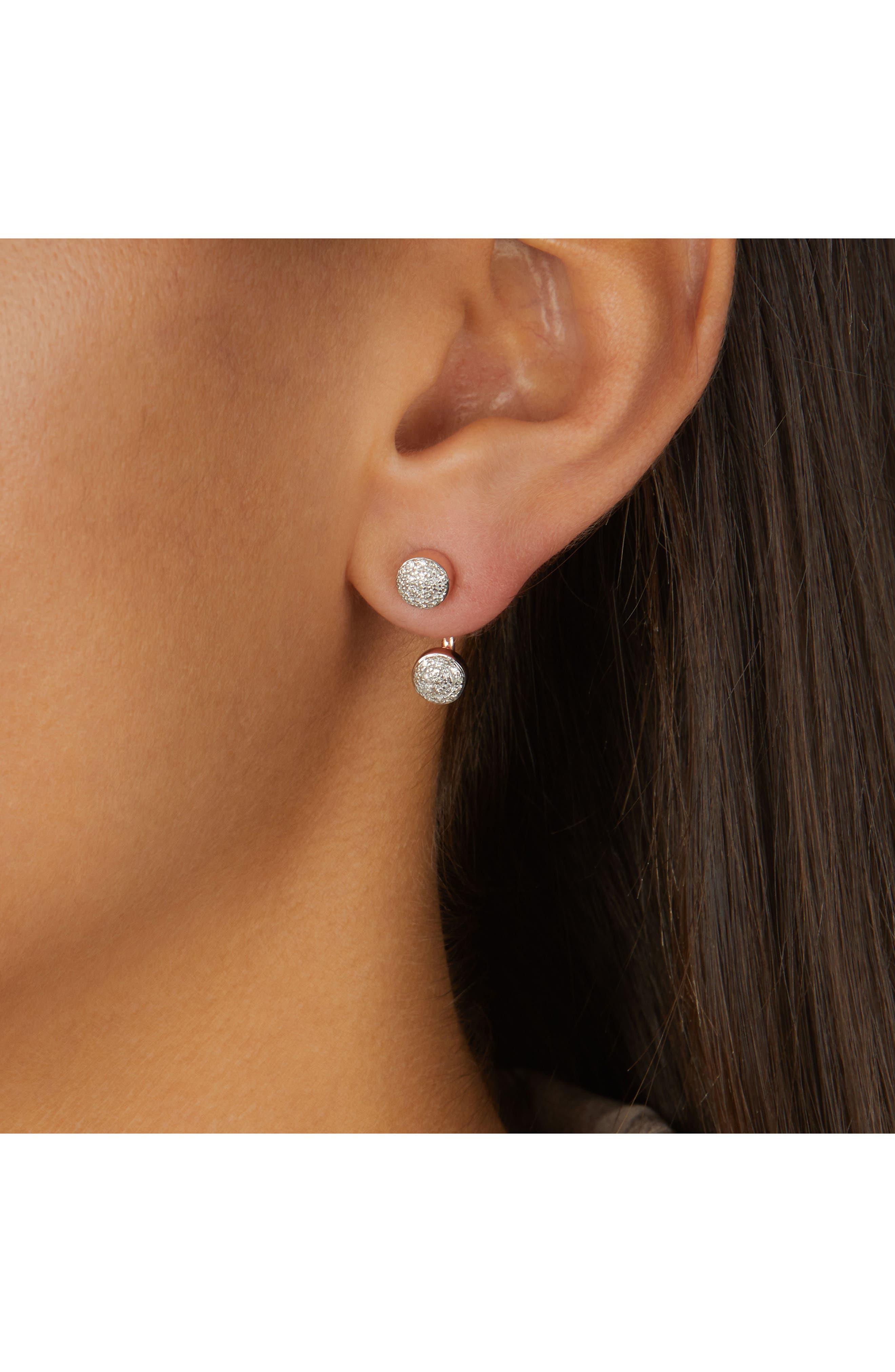 Fiji Diamond Button Ear Jackets,                             Alternate thumbnail 2, color,                             Rose Gold