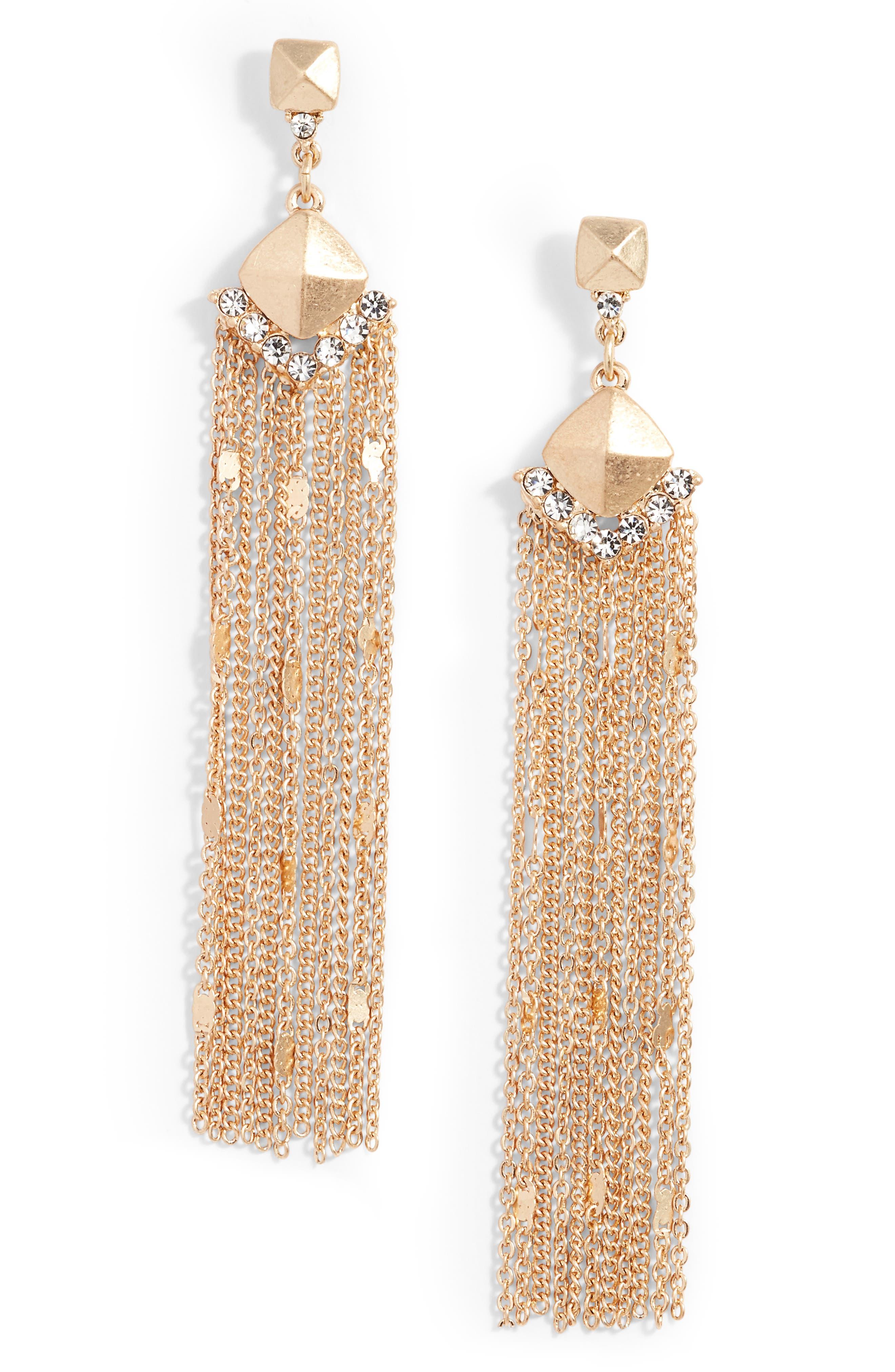 Treausre & Bond Fringe Statement Drop Earrings,                         Main,                         color, Clear- Gold