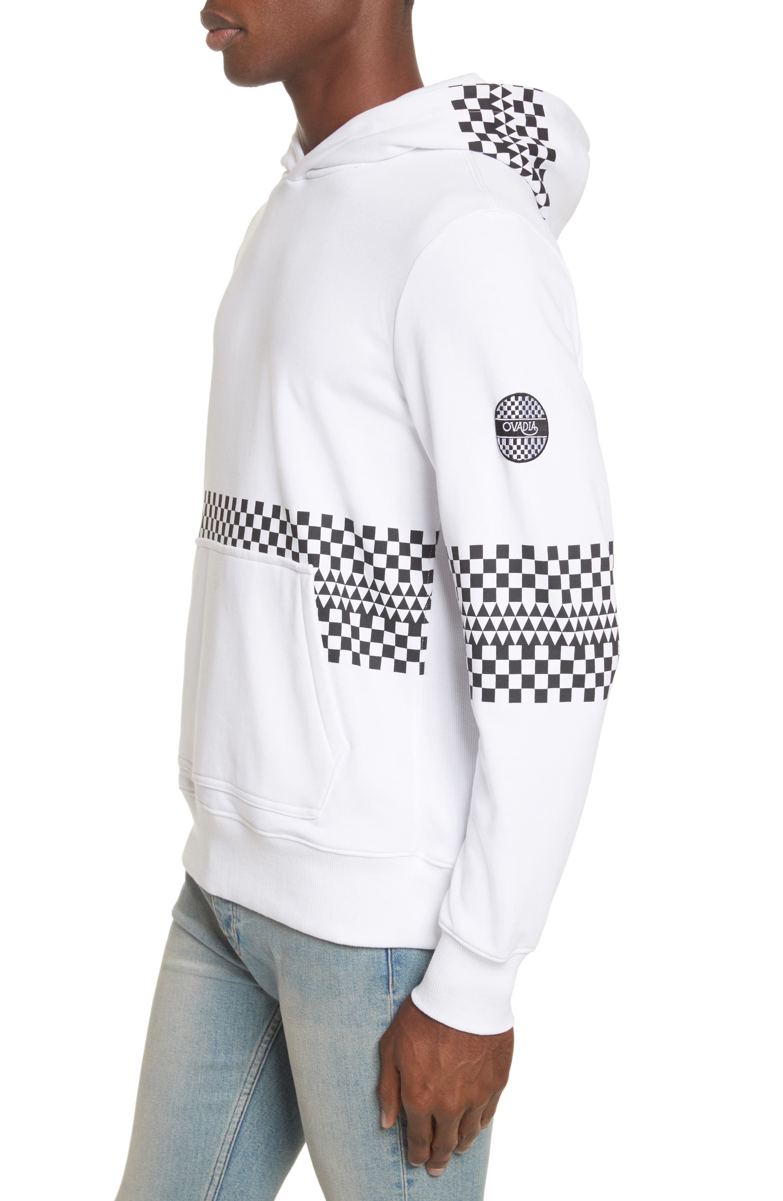 Type-01 Check Print Hoodie,                             Alternate thumbnail 4, color,                             White/ Black