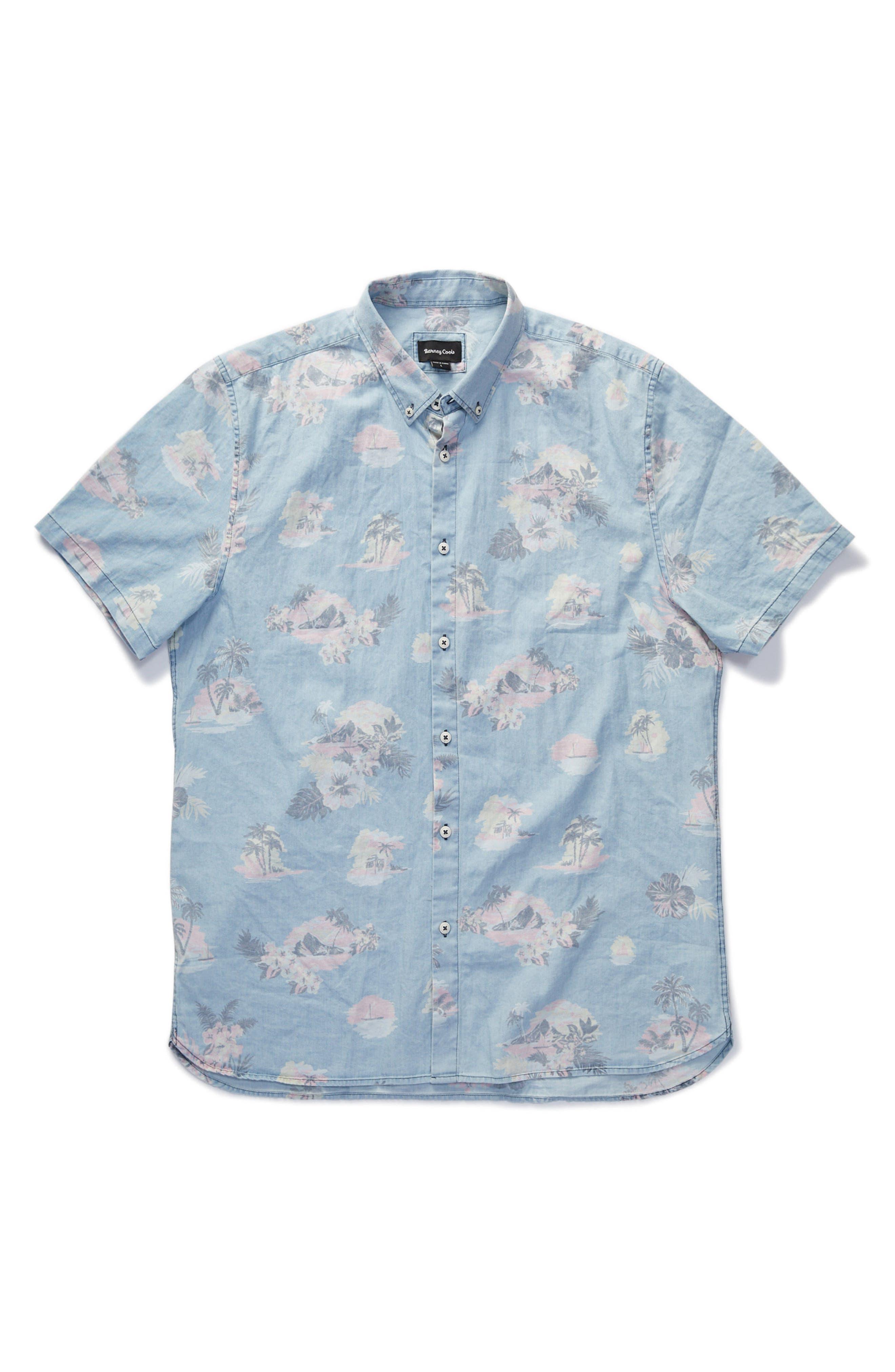 Tropical Print Woven Shirt,                             Alternate thumbnail 6, color,                             Indigo/ Floral