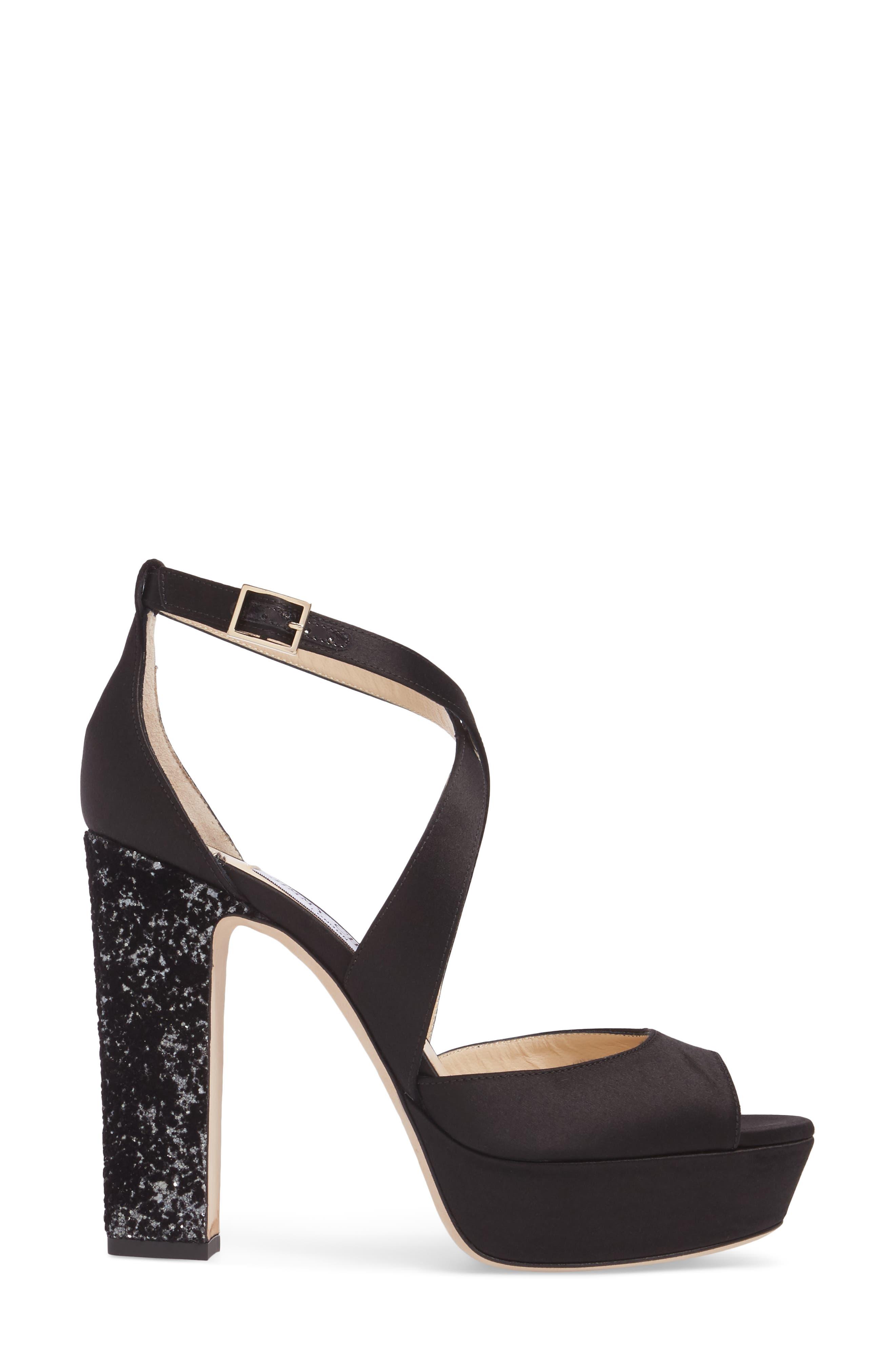 April Platform Sandal,                             Alternate thumbnail 3, color,                             Black/ Anthracite/ Black