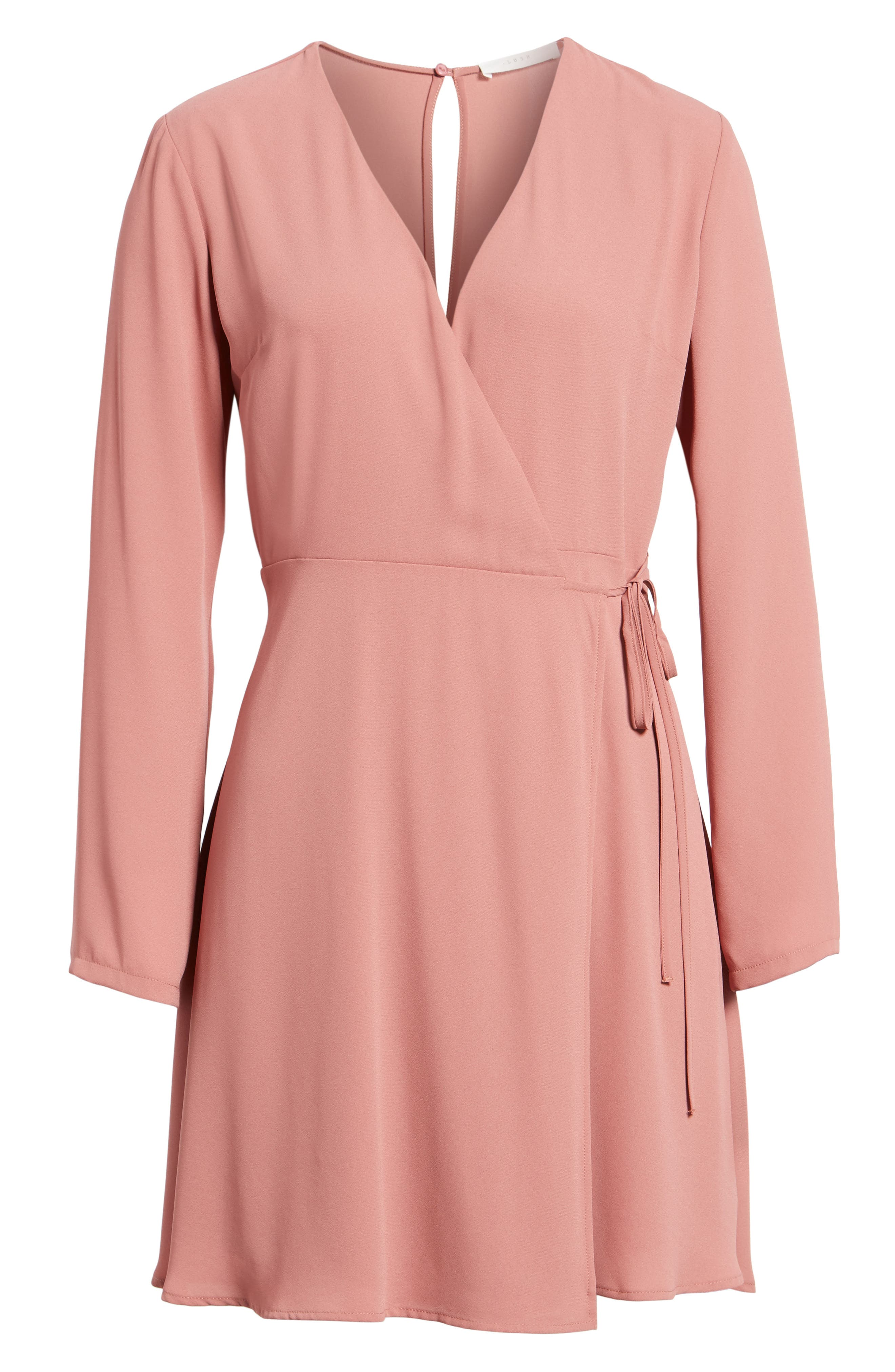 Elly Wrap Dress,                             Alternate thumbnail 6, color,                             Withered Rose