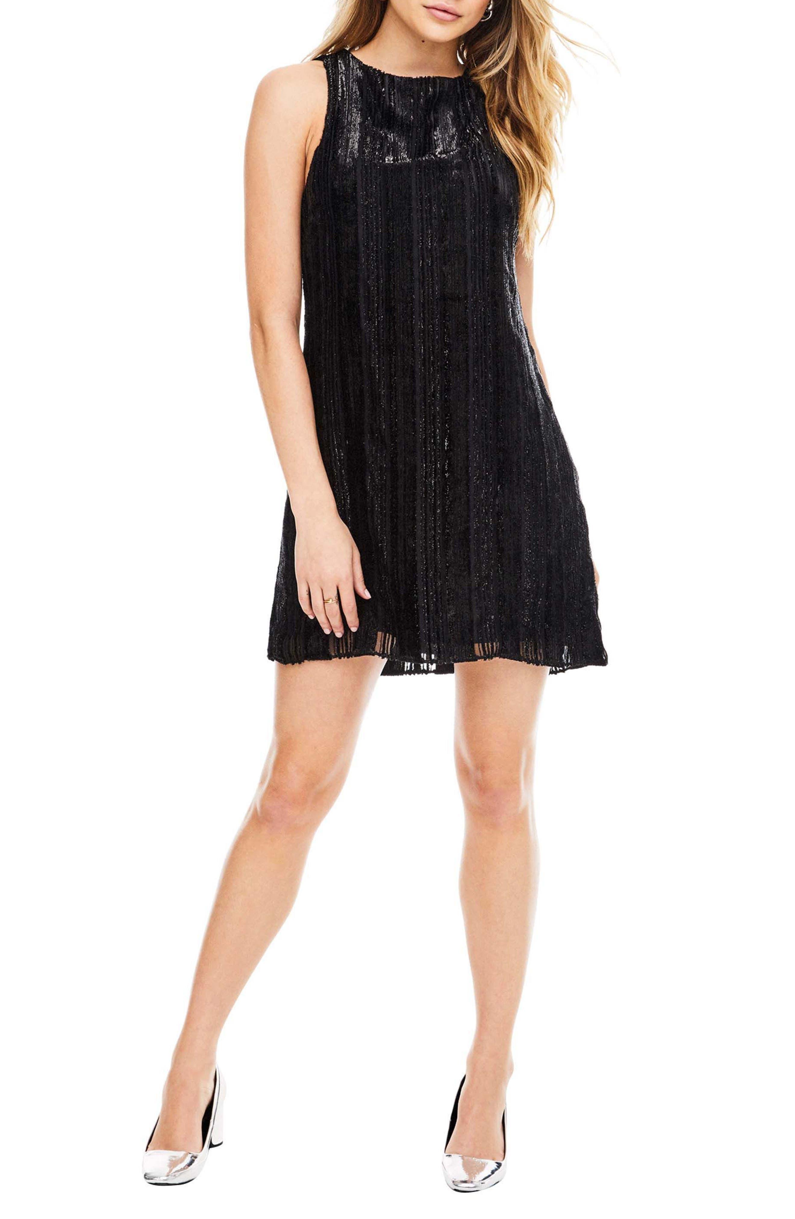 Molly Minidress,                         Main,                         color, Black Velvet Stripe