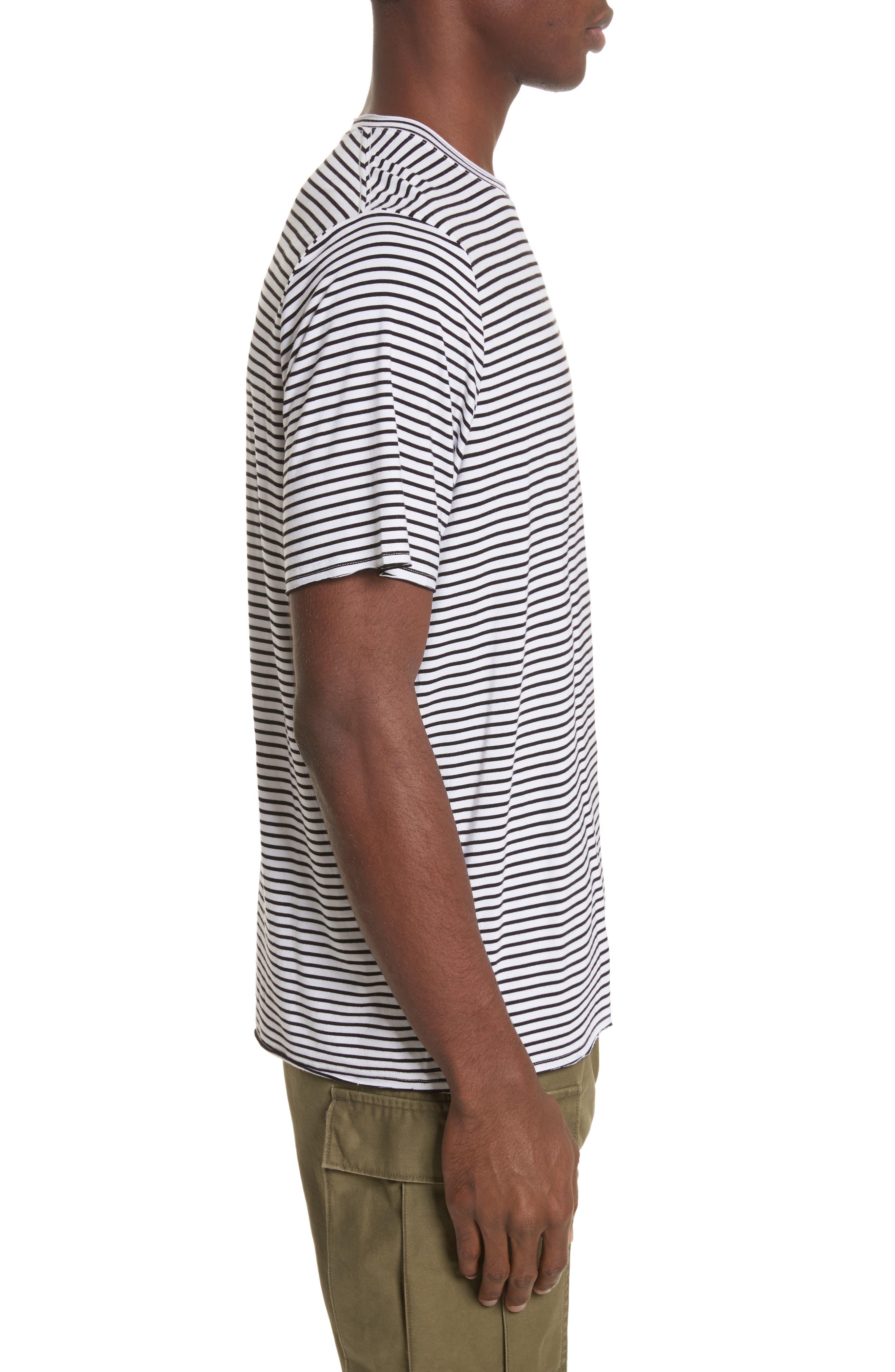 Raw Edge Stripe T-Shirt,                             Alternate thumbnail 3, color,                             Black/ White
