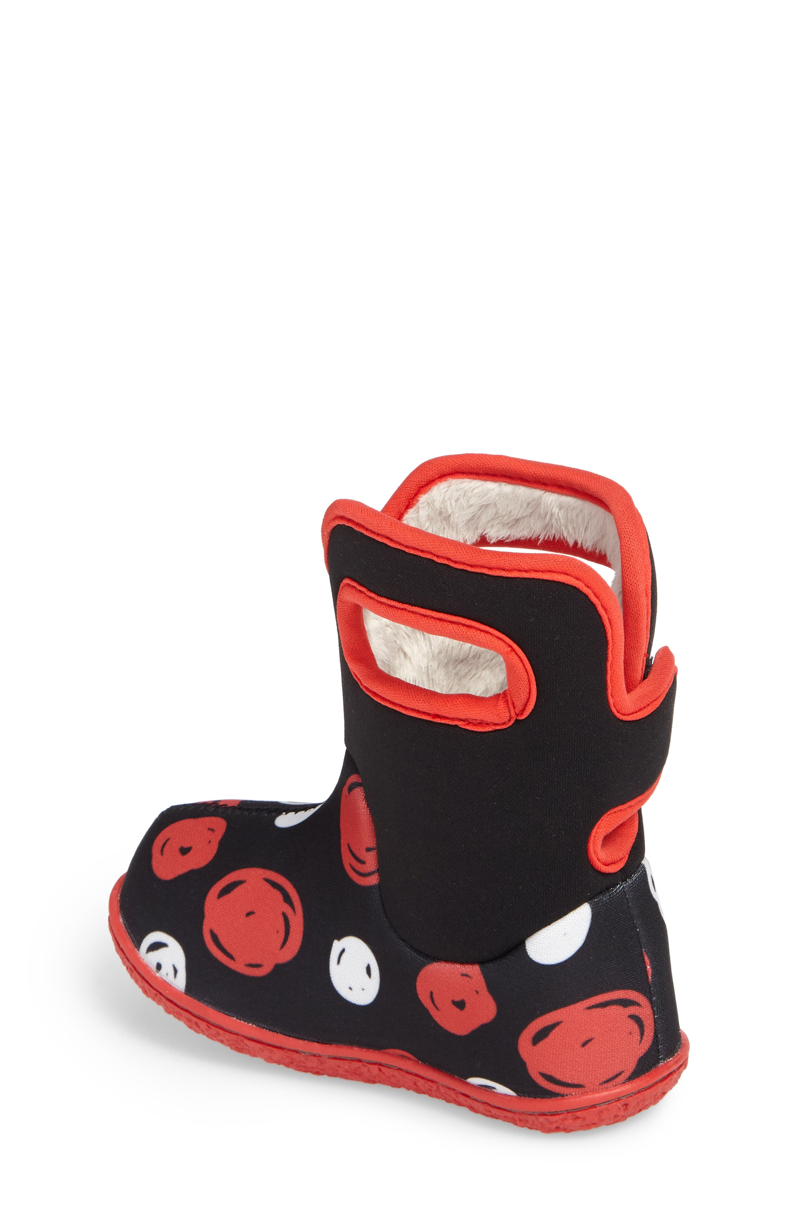 Baby Bogs Classic Sketched Dots Washable Insulated Waterproof Boot,                             Alternate thumbnail 2, color,                             Black/ Red Multi