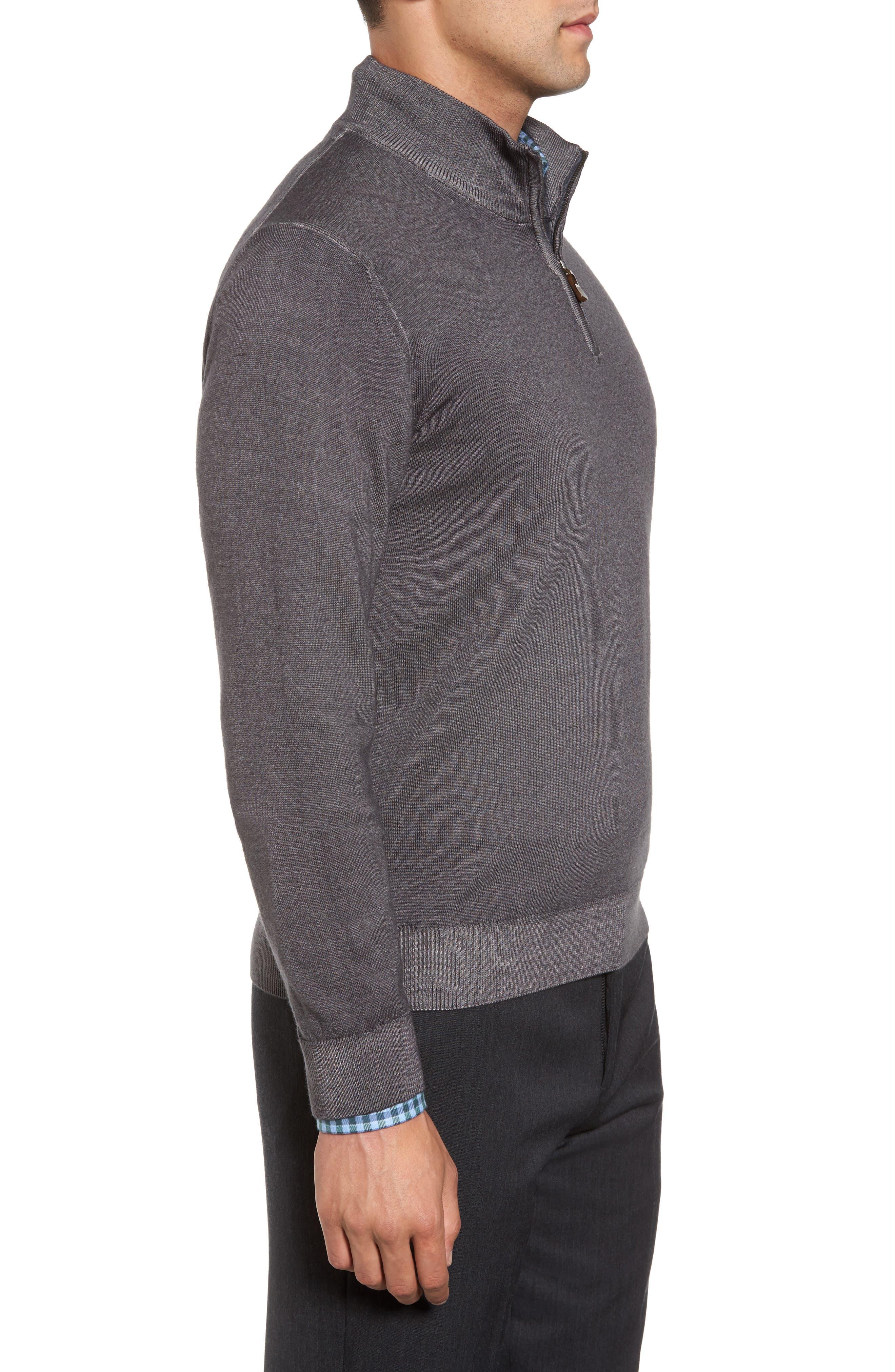Alternate Image 3  - David Donahue Ice Merino Wool Quarter Zip Pullover