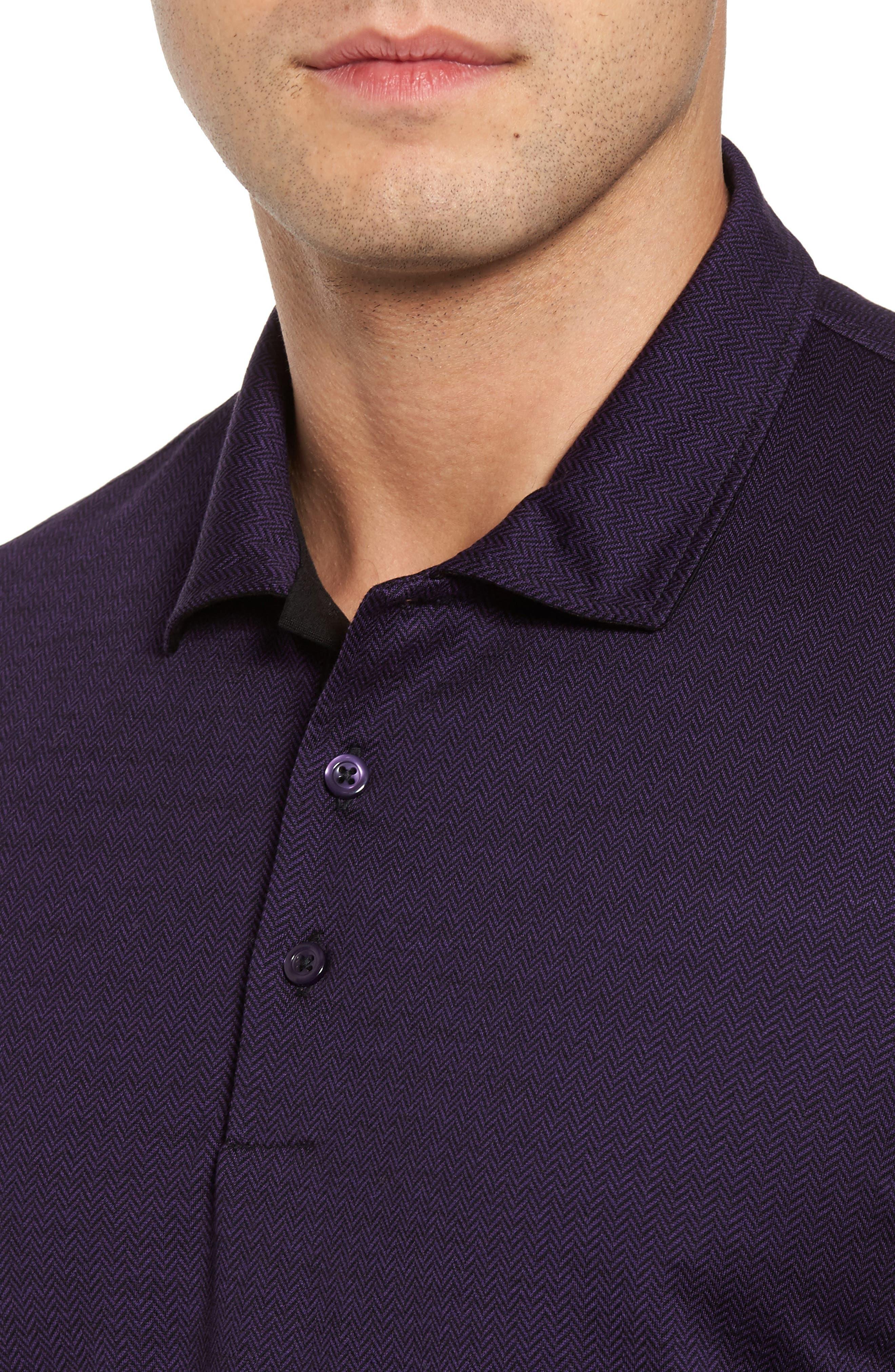 Herringbone Jacquard Polo,                             Alternate thumbnail 4, color,                             Purple