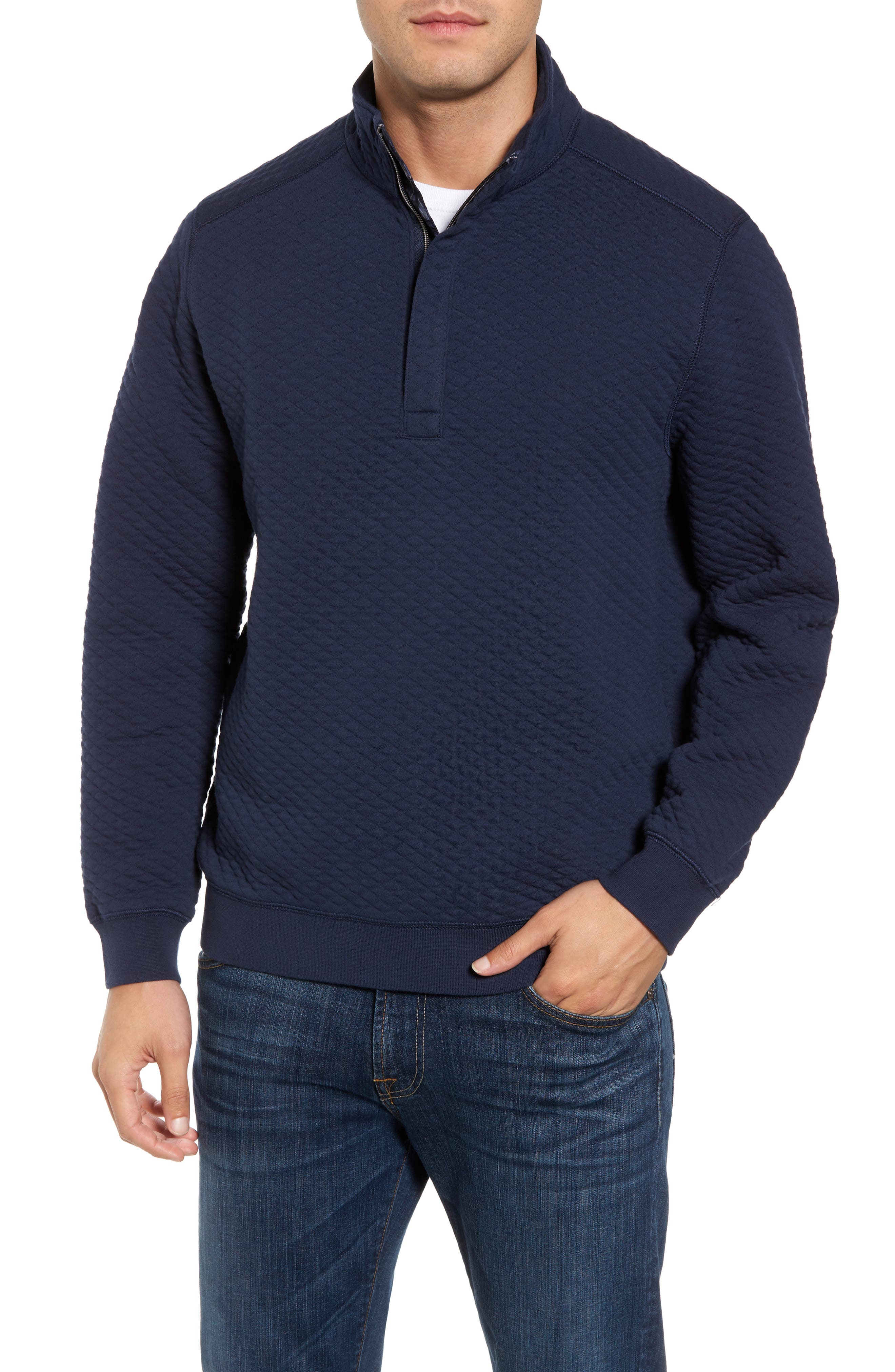 Alternate Image 1 Selected - Tommy Bahama Quiltessential Standard Fit Quarter Zip Pullover