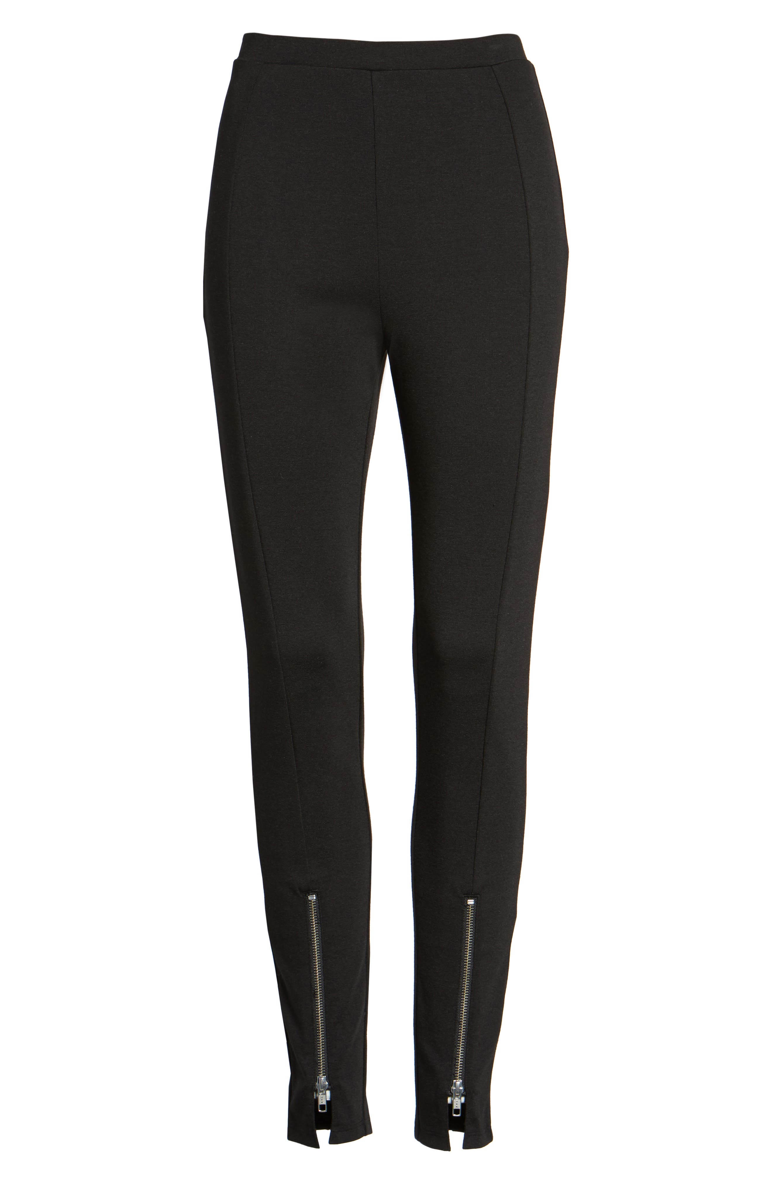High-Waist Ankle Zip Leggings,                             Alternate thumbnail 6, color,                             Black