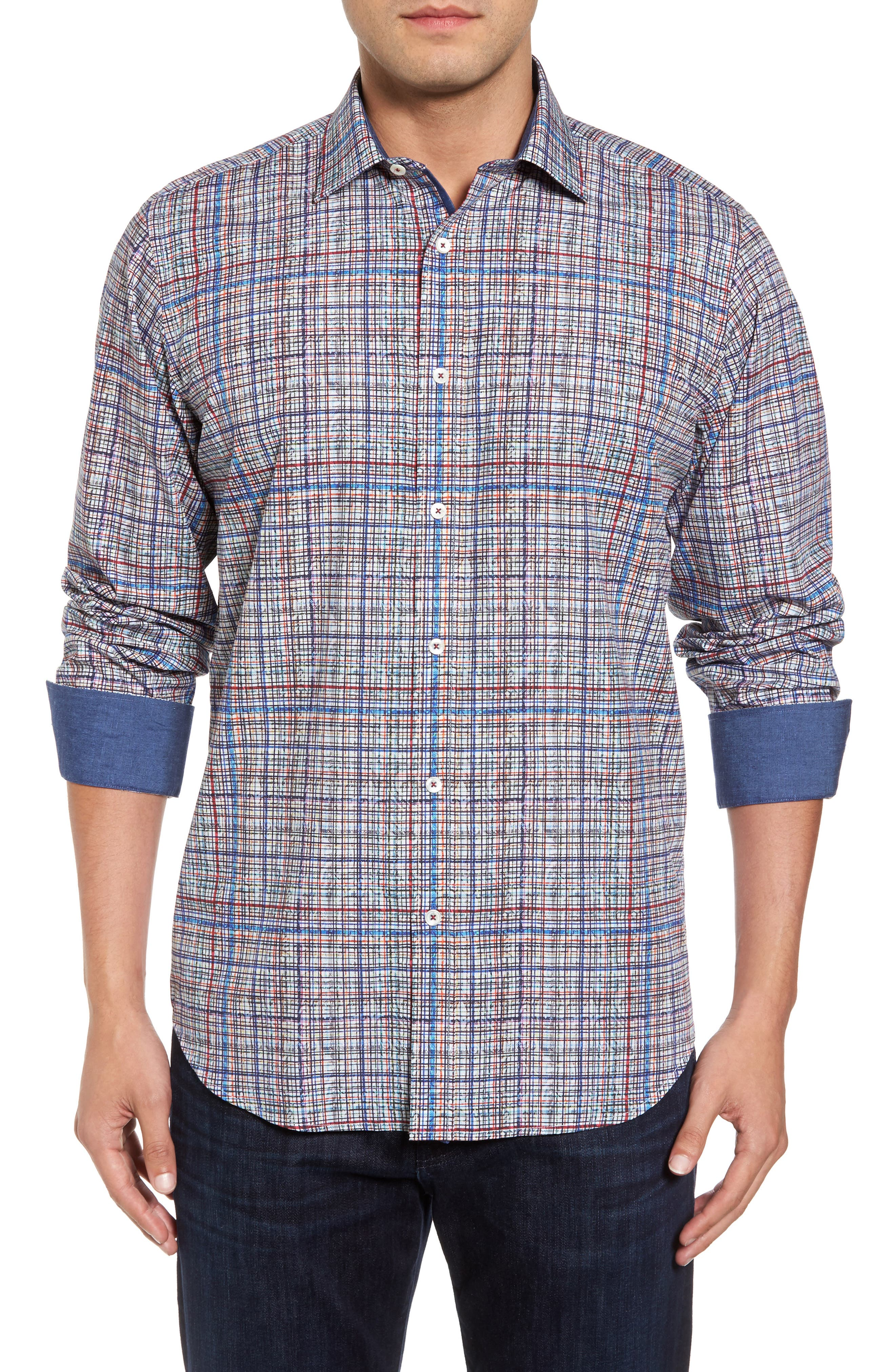Classic Fit Abstract Plaid Sport Shirt,                         Main,                         color, Candy