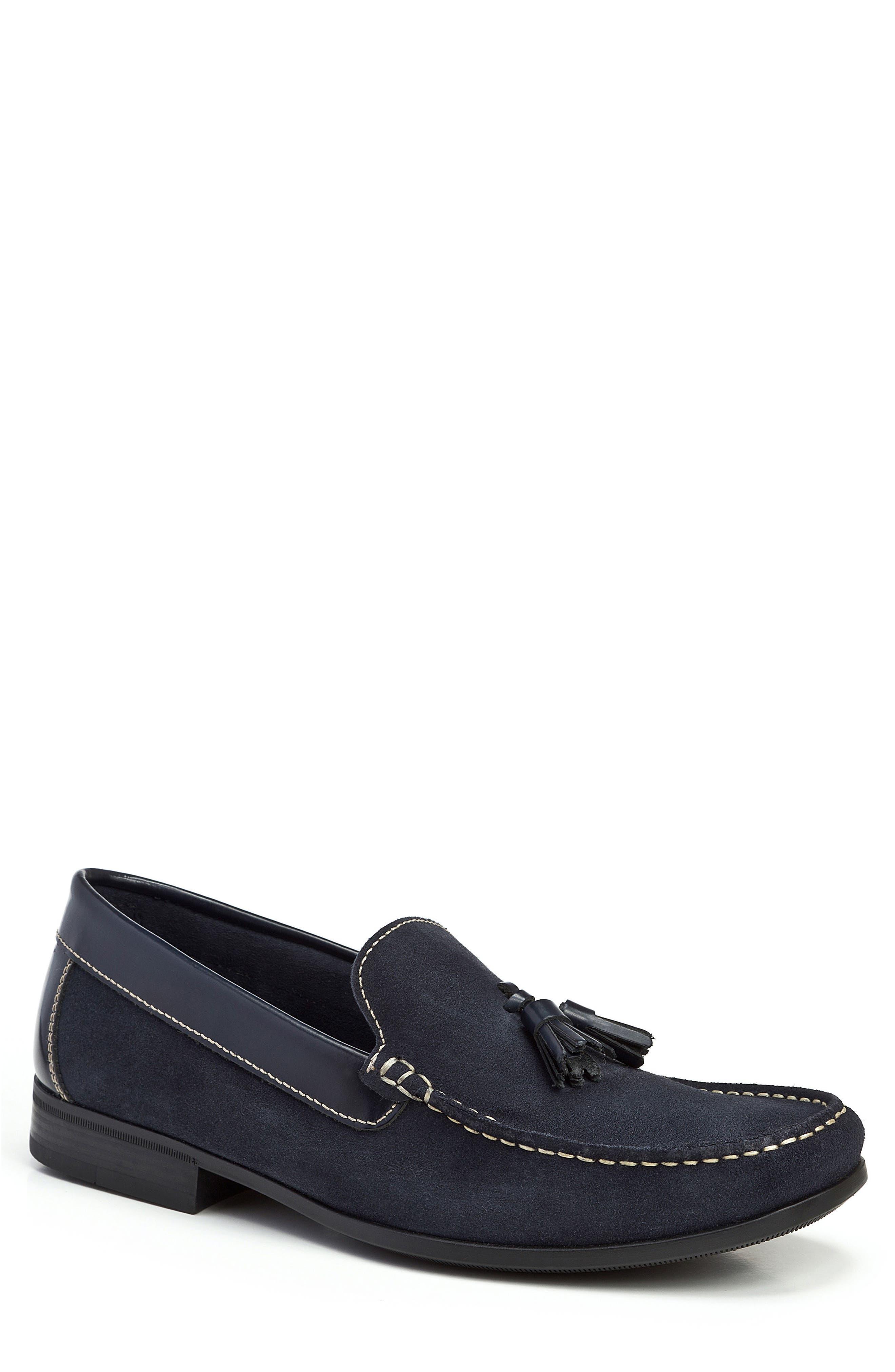 Hojas Tassel Loafer,                         Main,                         color, Navy Leather