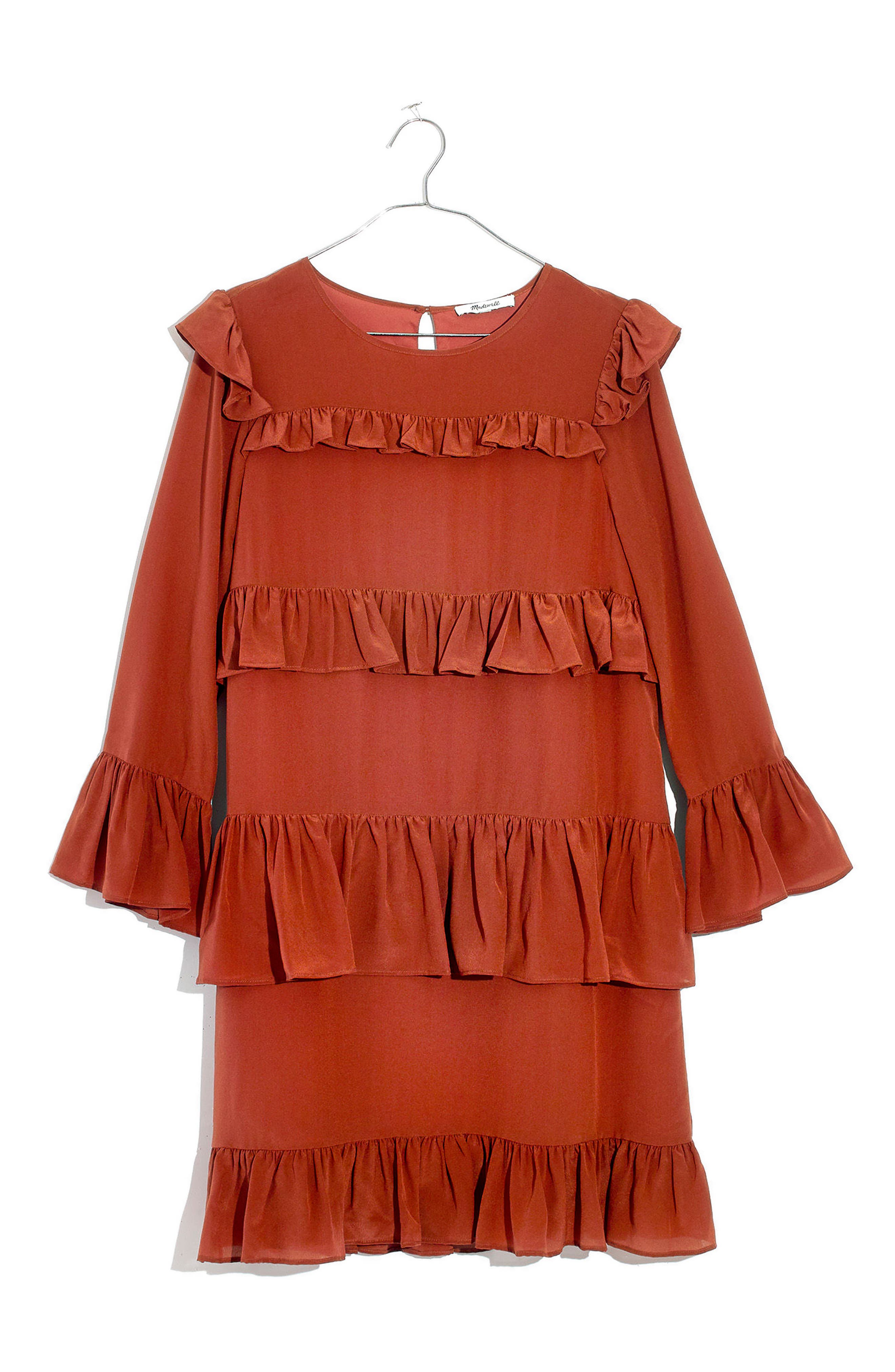 Waterlily Ruffle Dress,                             Alternate thumbnail 4, color,                             Burnished Rust