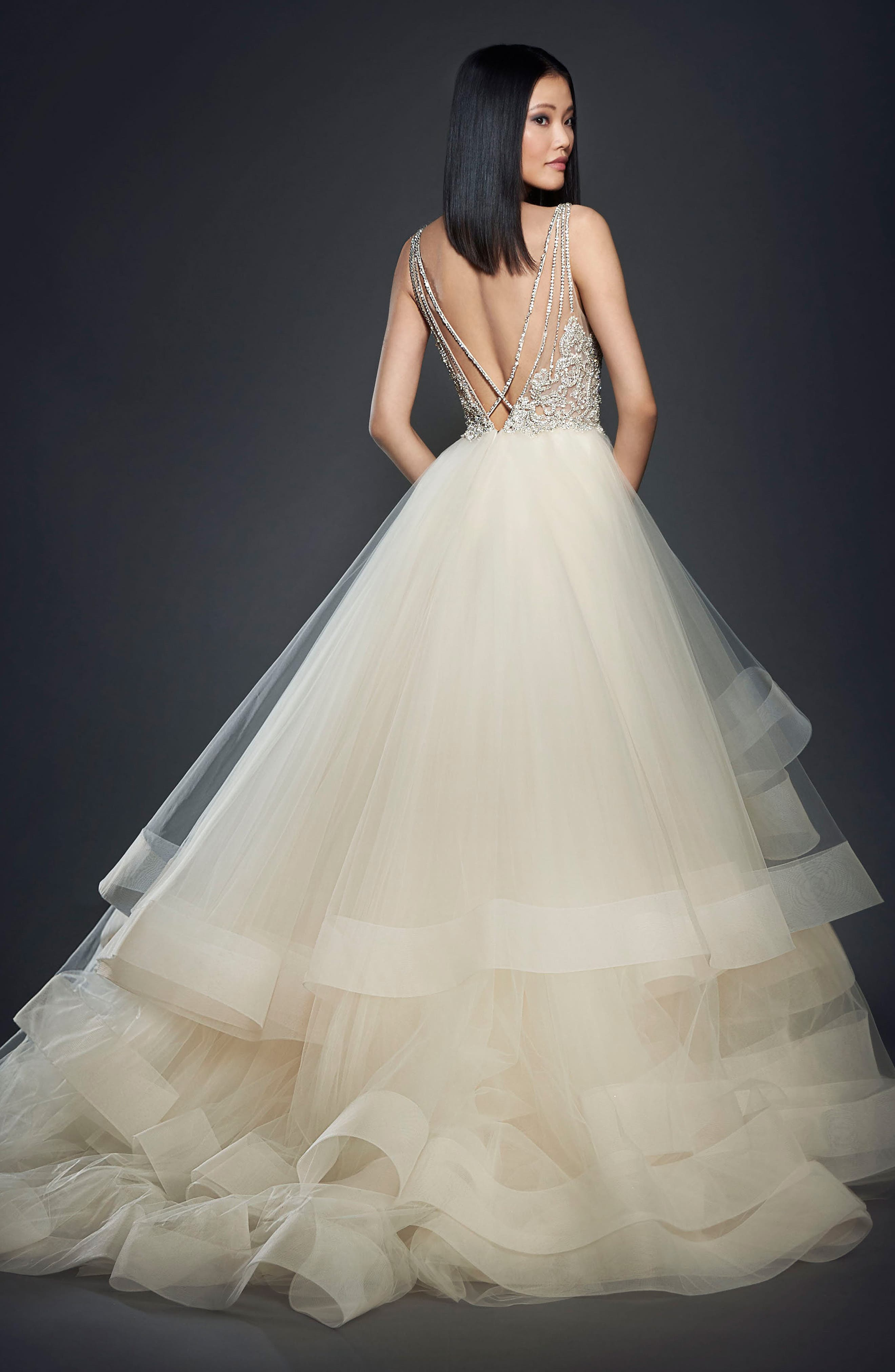 Crystal Embellished Layered Organza Ballgown,                             Alternate thumbnail 3, color,                             Champagne