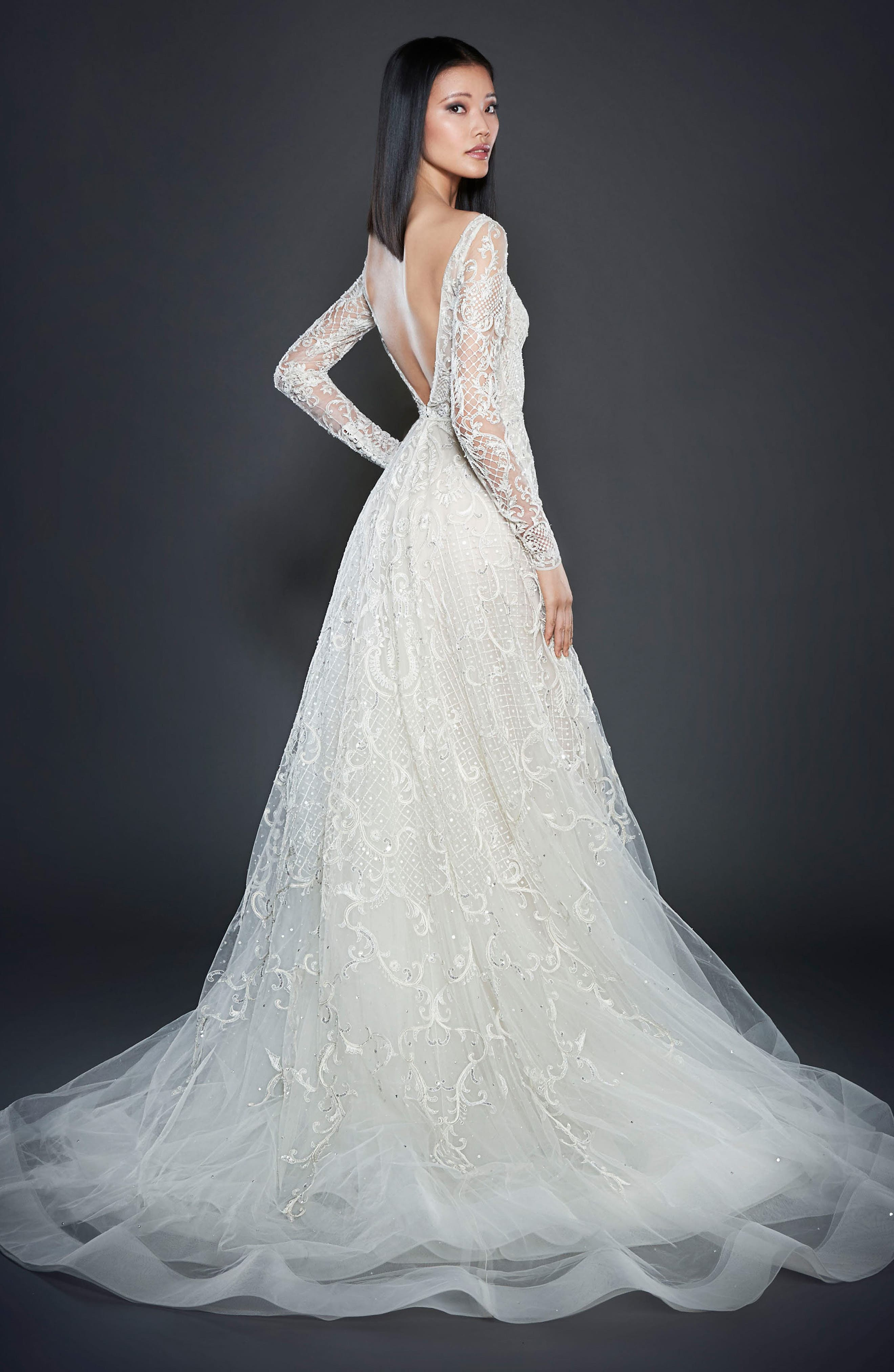 Beaded A-Line Gown,                             Alternate thumbnail 2, color,                             Ivory