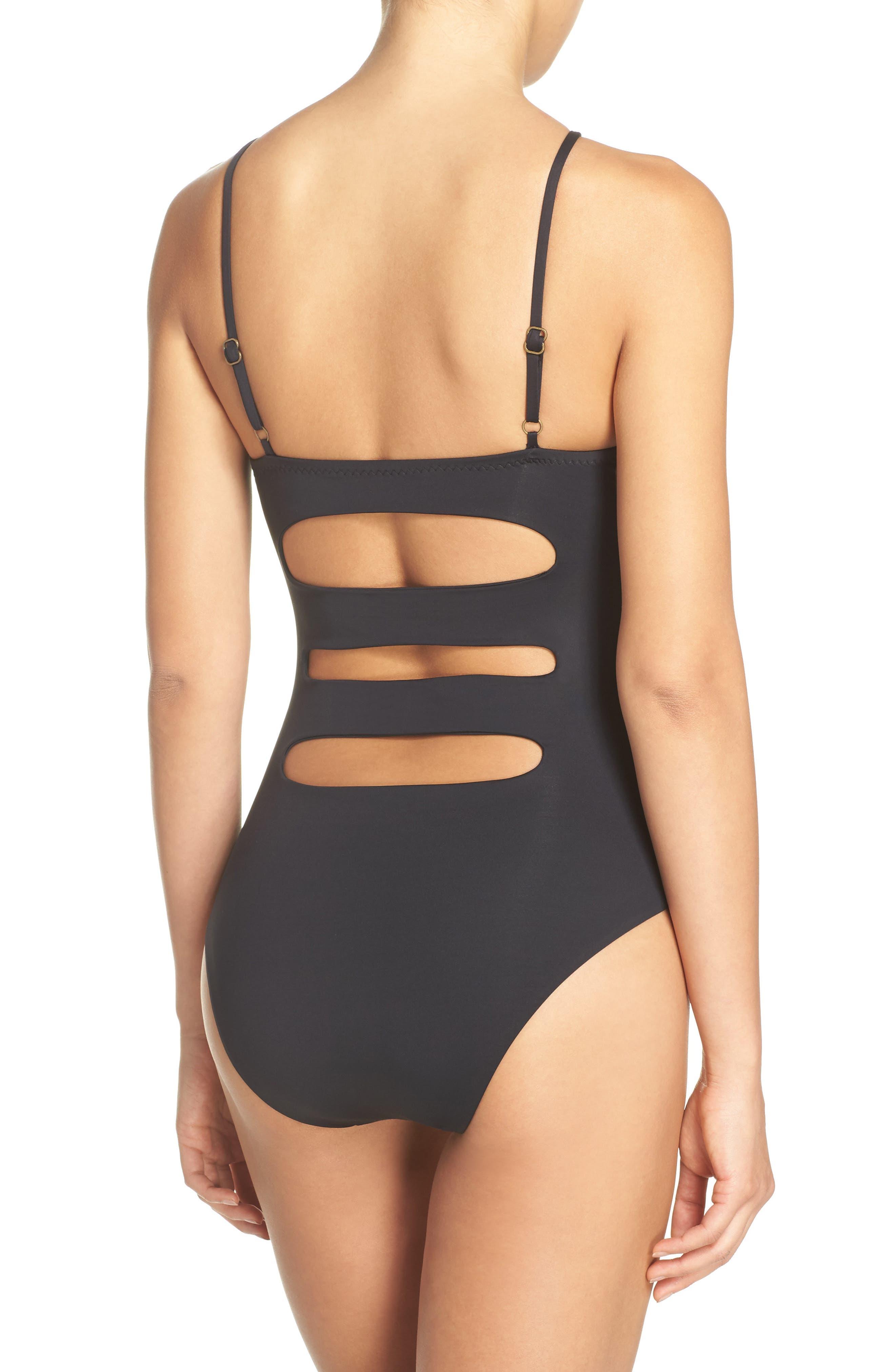 Color Code One-Piece Swimsuit,                             Alternate thumbnail 2, color,                             Black