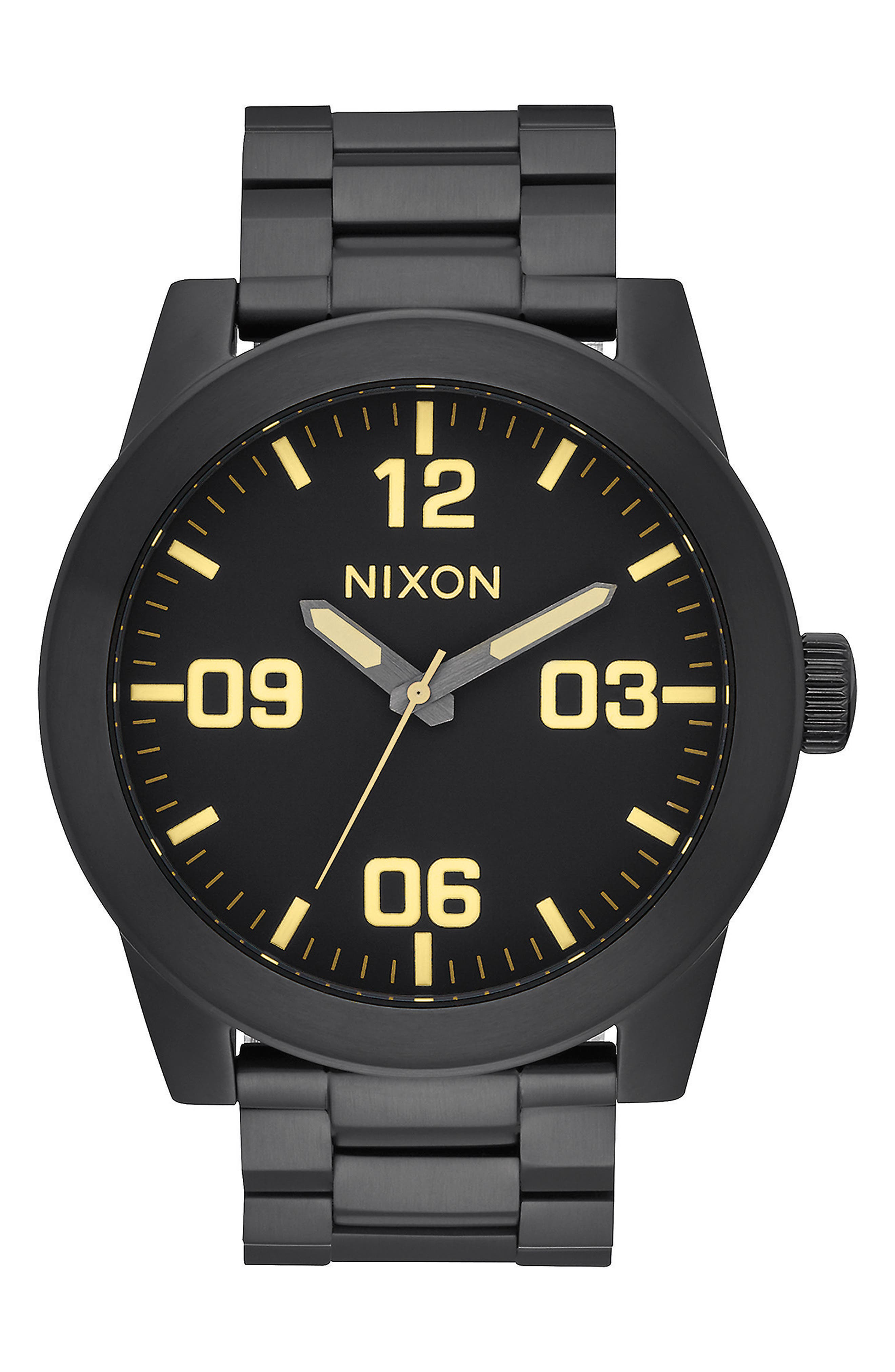 'The Corporal' Bracelet Watch, 48mm,                             Main thumbnail 1, color,                             Black