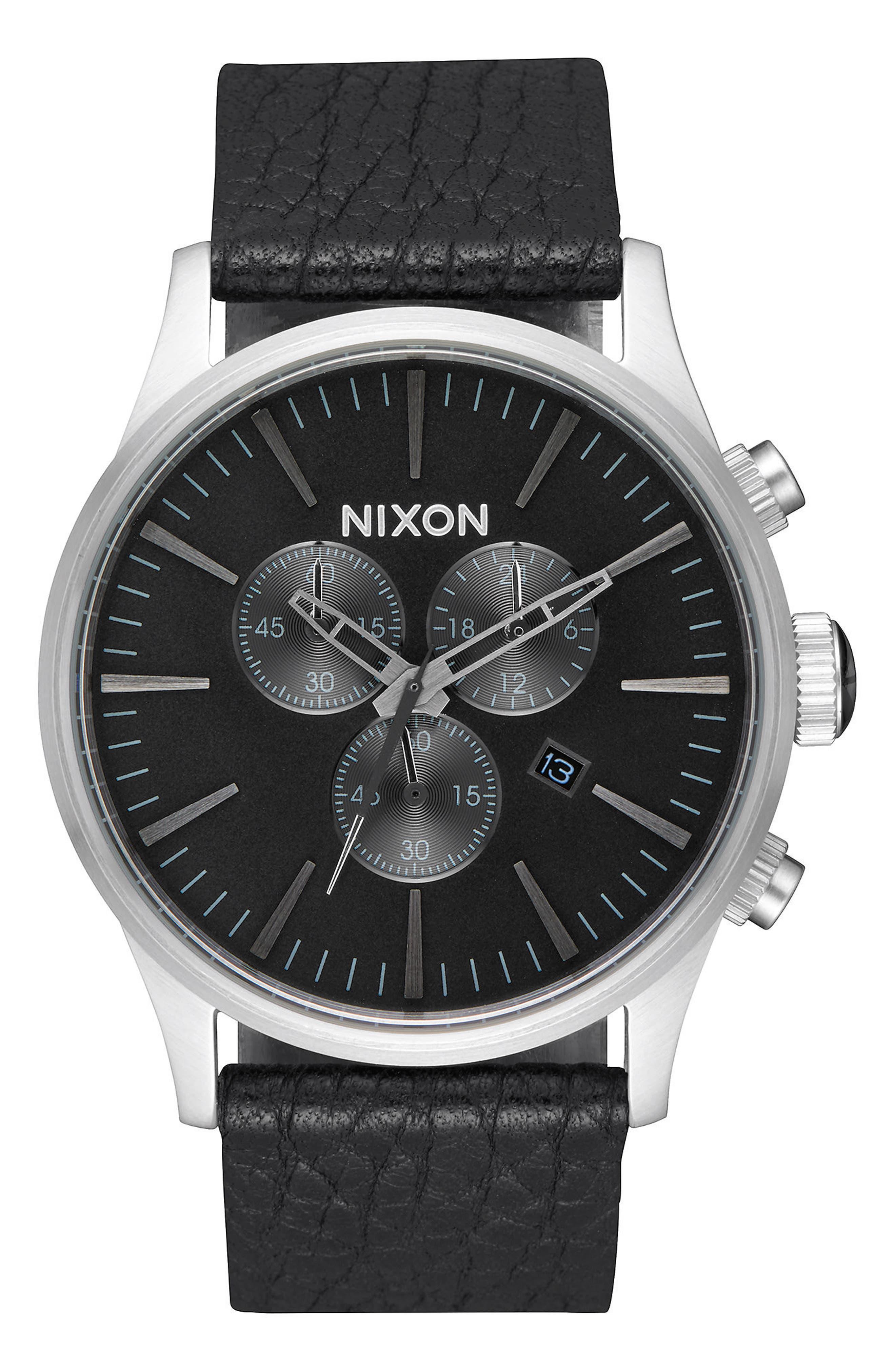 The Sentry Chronograph Leather Strap Watch, 42mm,                             Main thumbnail 1, color,                             Black/ Gunmetal/ Black