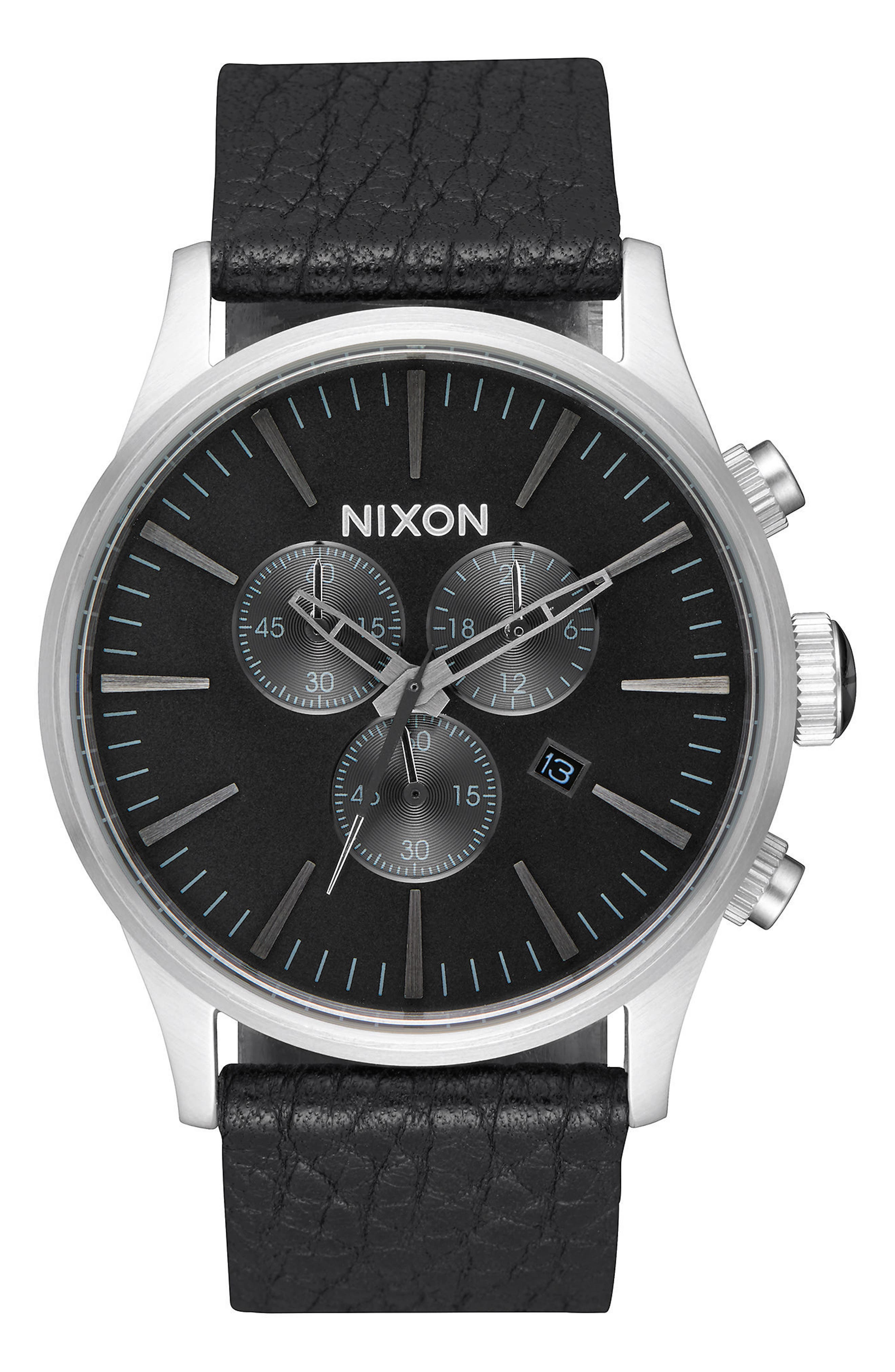 The Sentry Chronograph Leather Strap Watch, 42mm,                         Main,                         color, Black/ Gunmetal/ Black