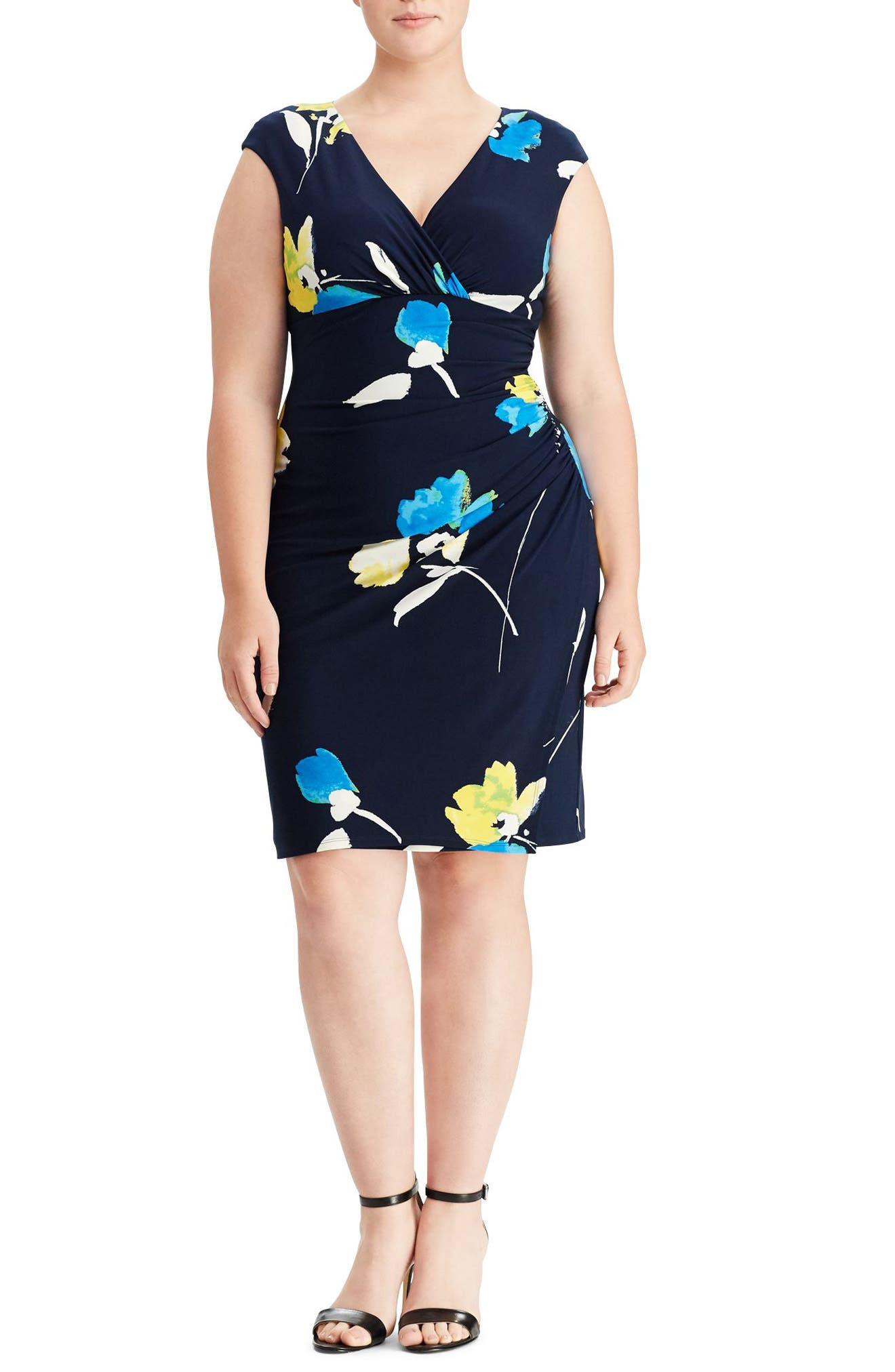 Floral Faux Wrap Dress,                         Main,                         color, Lighthouse Navy/ Tumeric